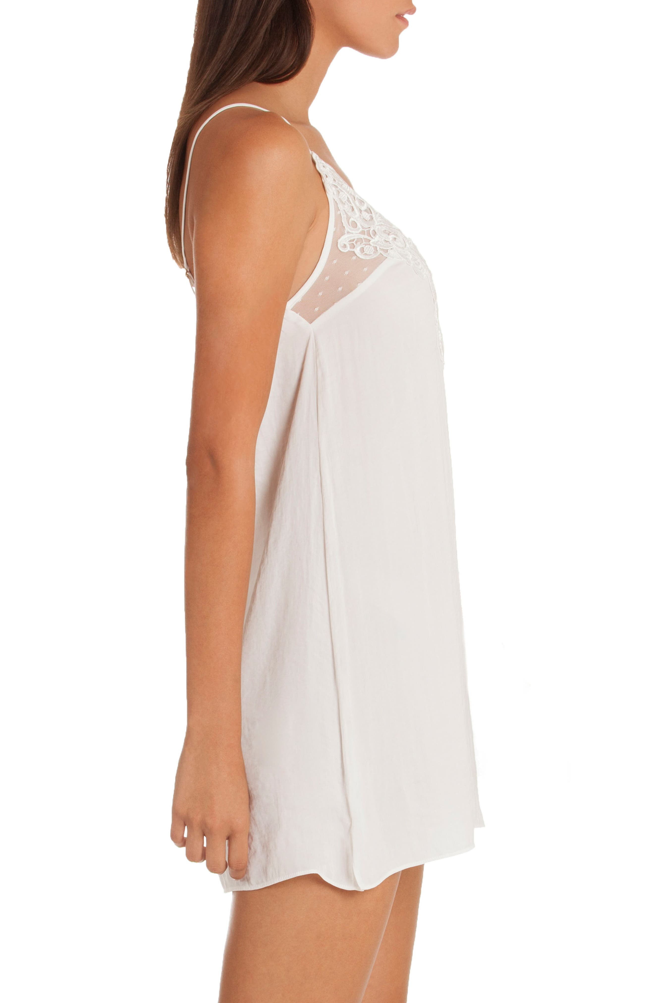 Byzantine Washed Satin Chemise,                             Alternate thumbnail 3, color,                             Ivory