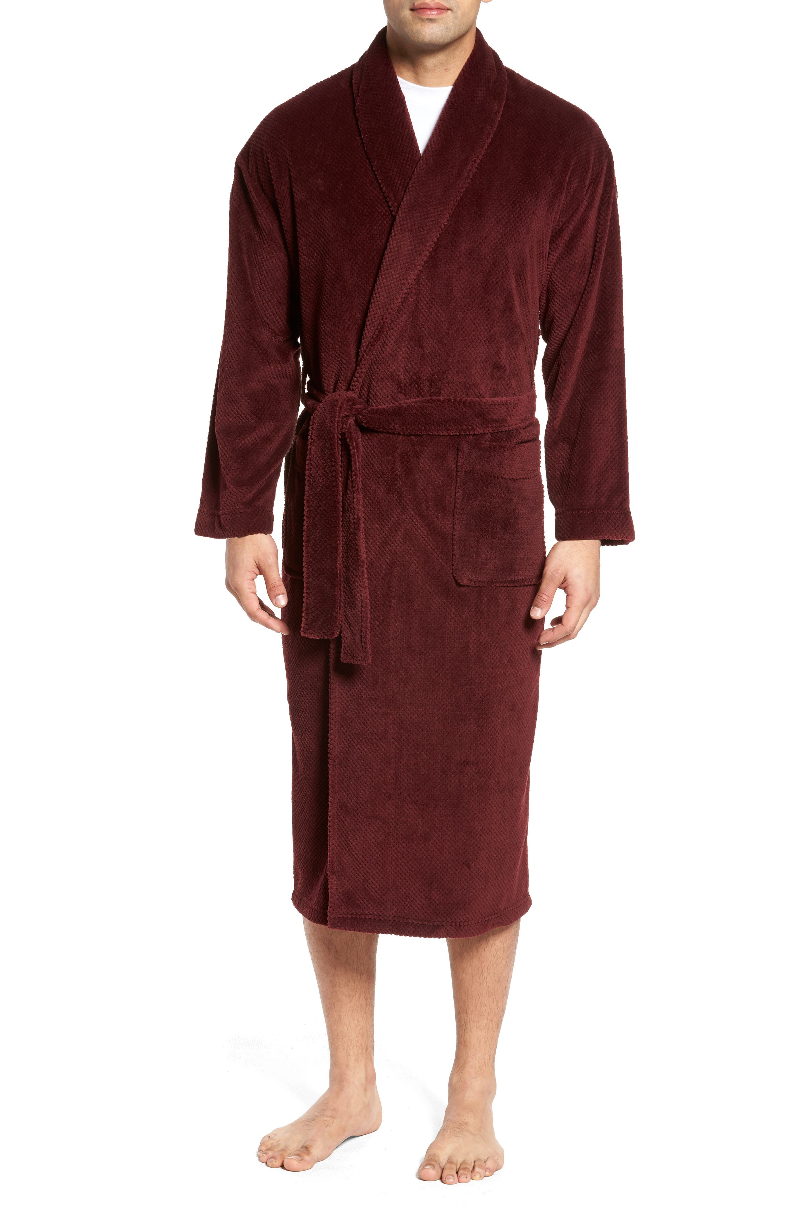 Fleece Robe,                         Main,                         color, Burgundy