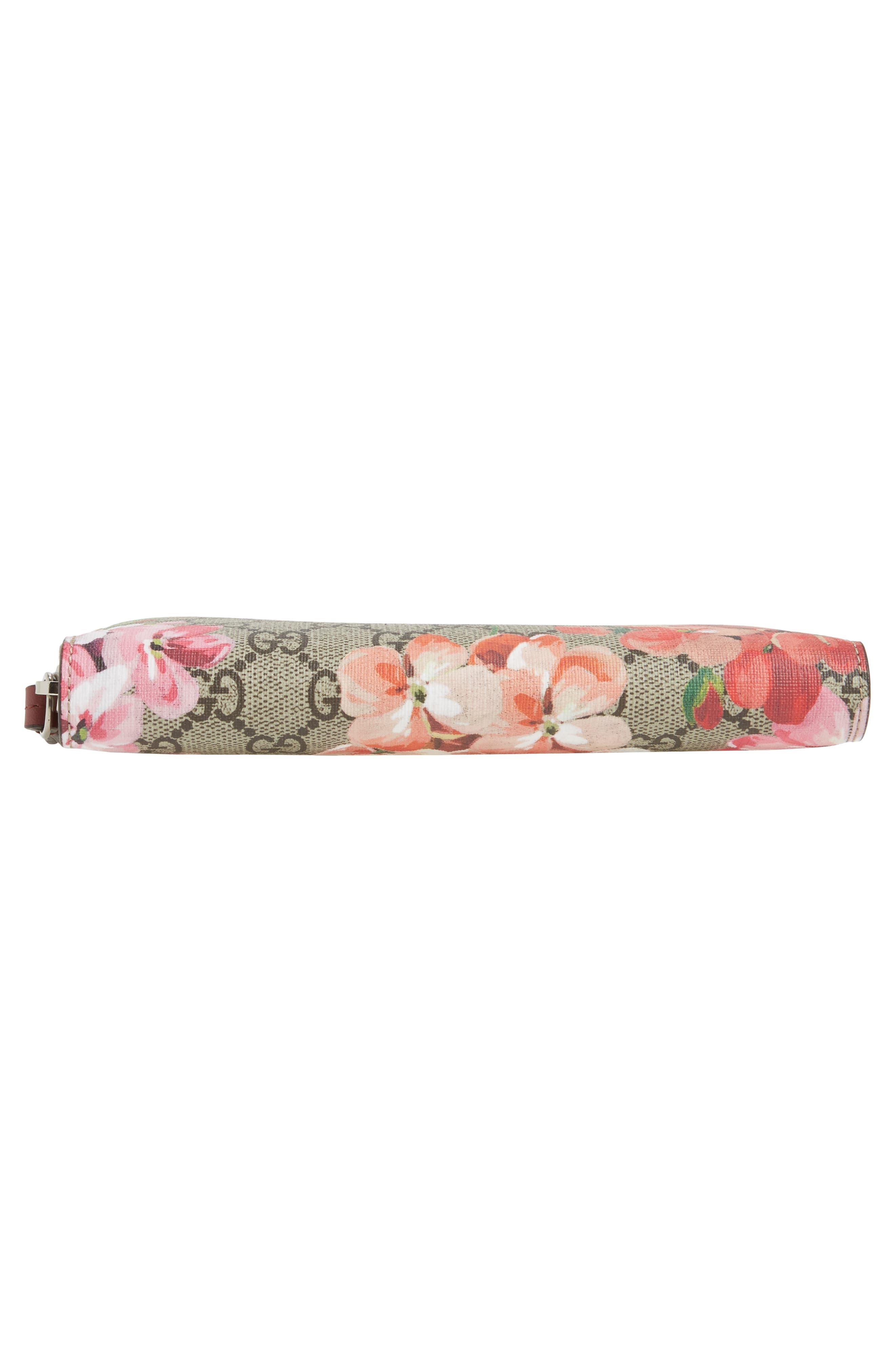 GG Blooms Zip Around Wallet,                             Alternate thumbnail 6, color,                             Beige Ebony Multi/ Dry Rose