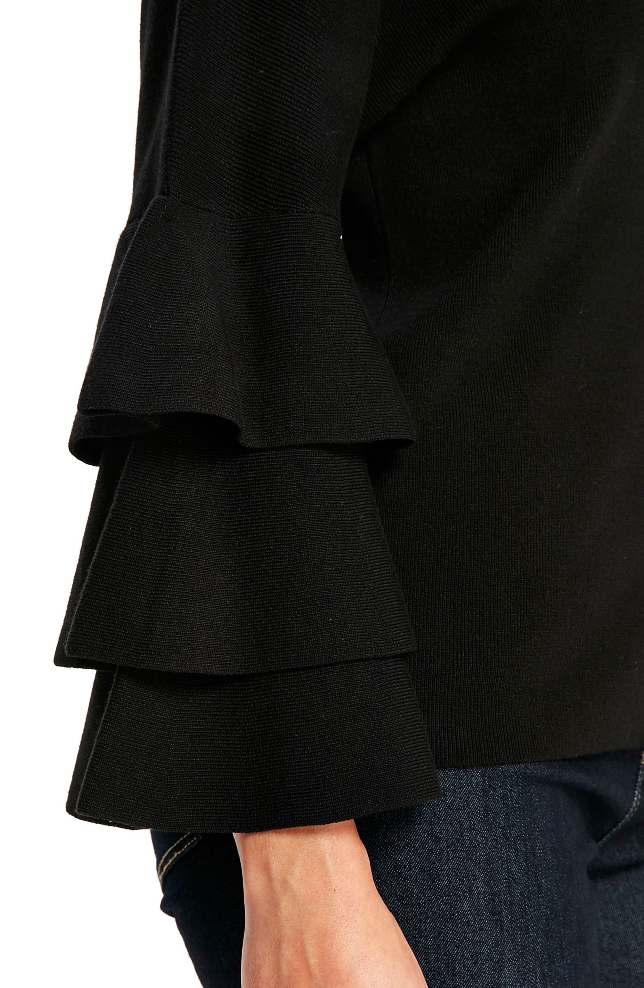 Tiered Ruffle Sleeve Top,                             Alternate thumbnail 3, color,                             Black
