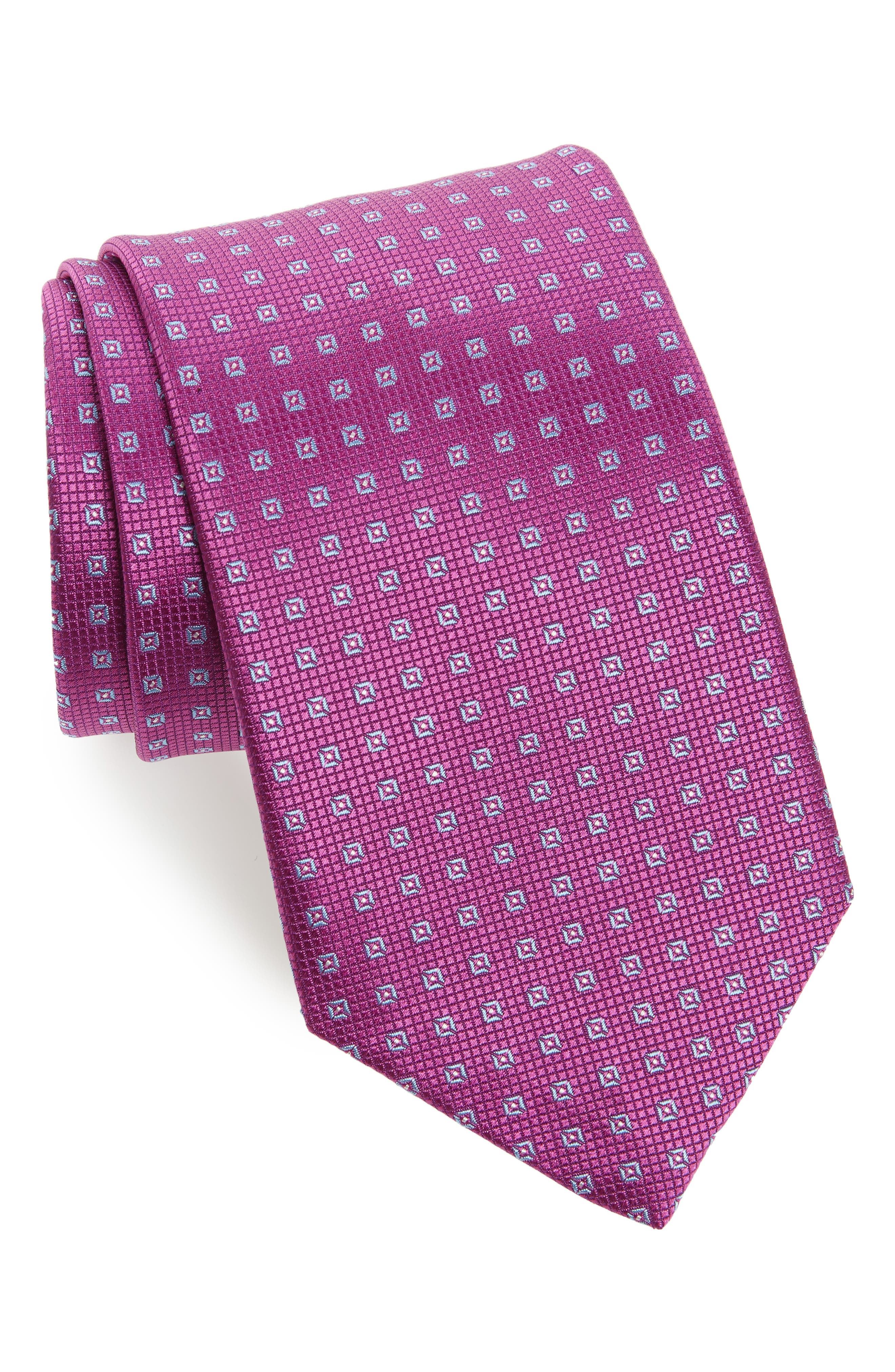 Medallion Silk Tie,                             Main thumbnail 1, color,                             Berry