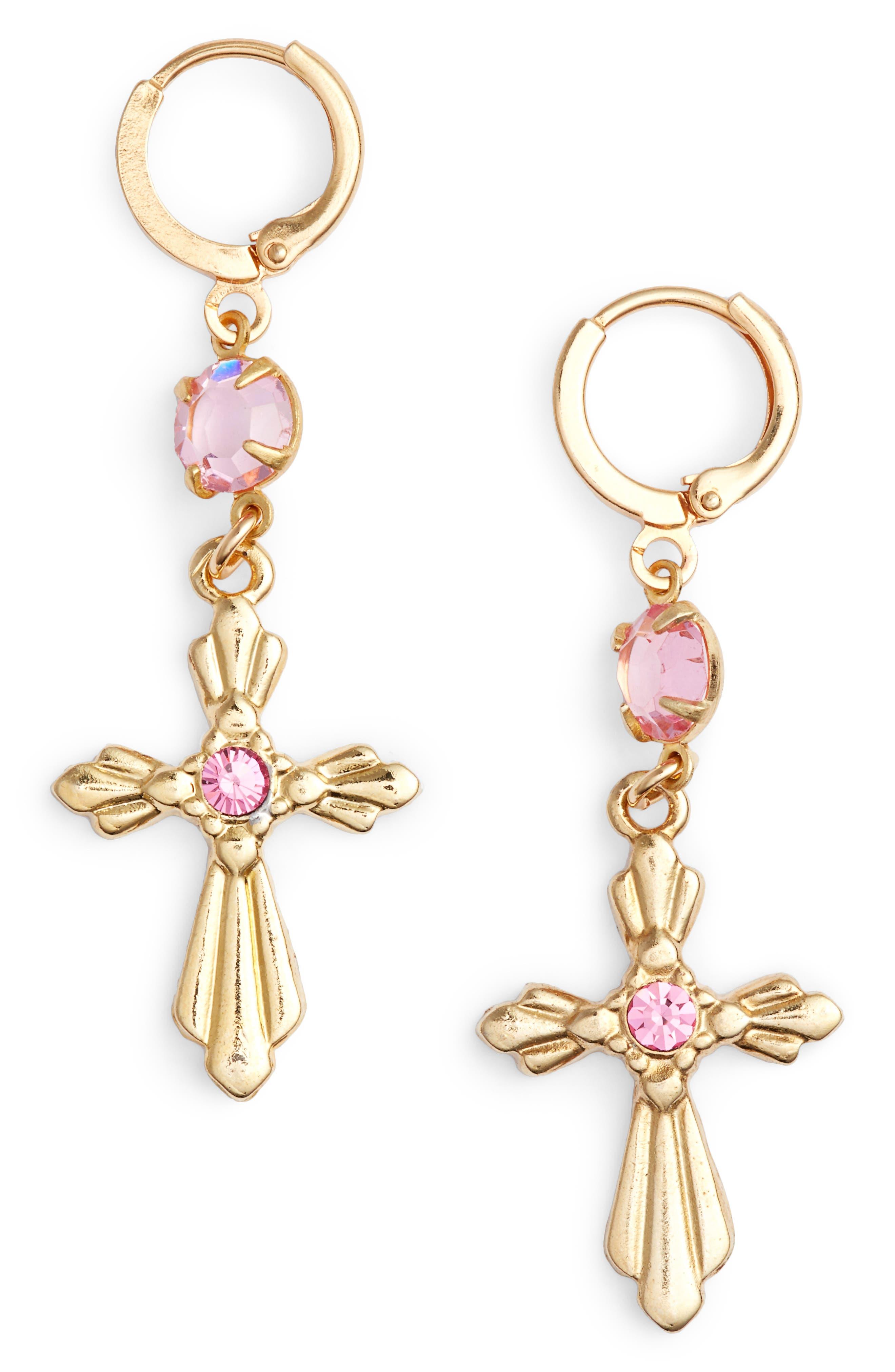 Princess Drop Earrings,                         Main,                         color, Gold