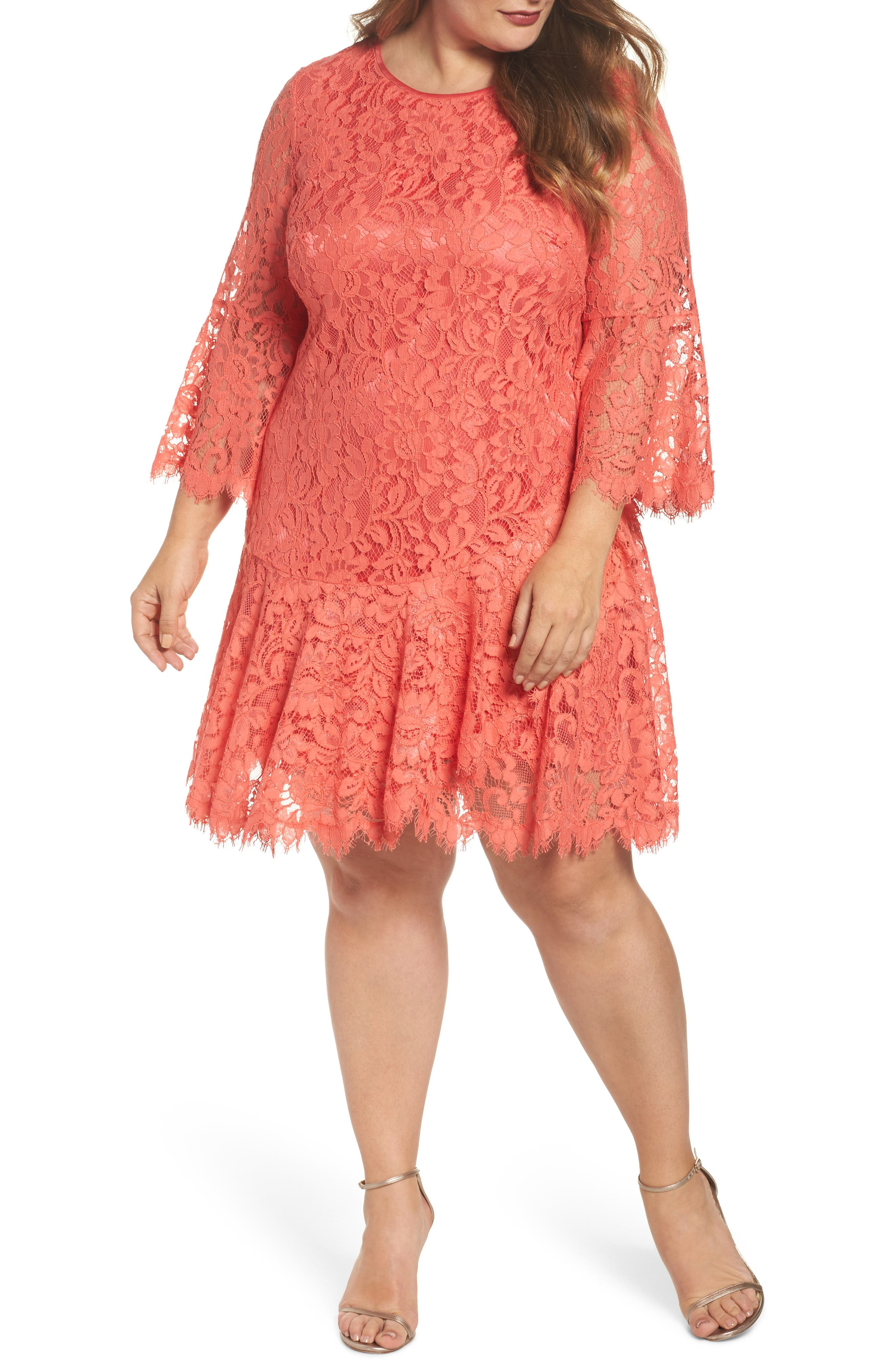 Bell Sleeve Lace Shift Dress,                         Main,                         color, Coral