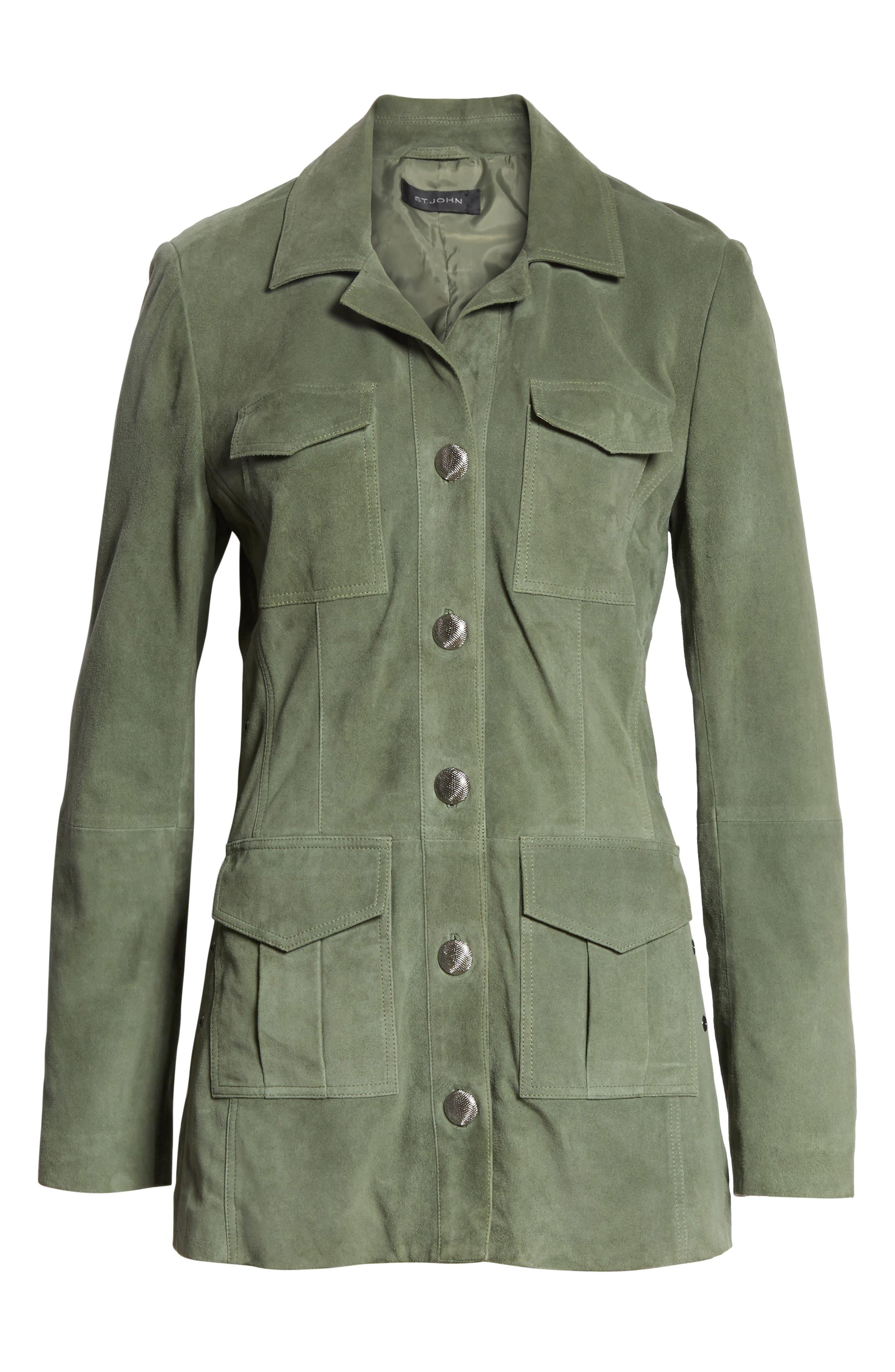 Suede Safari Jacket,                             Alternate thumbnail 8, color,                             Dark Mint
