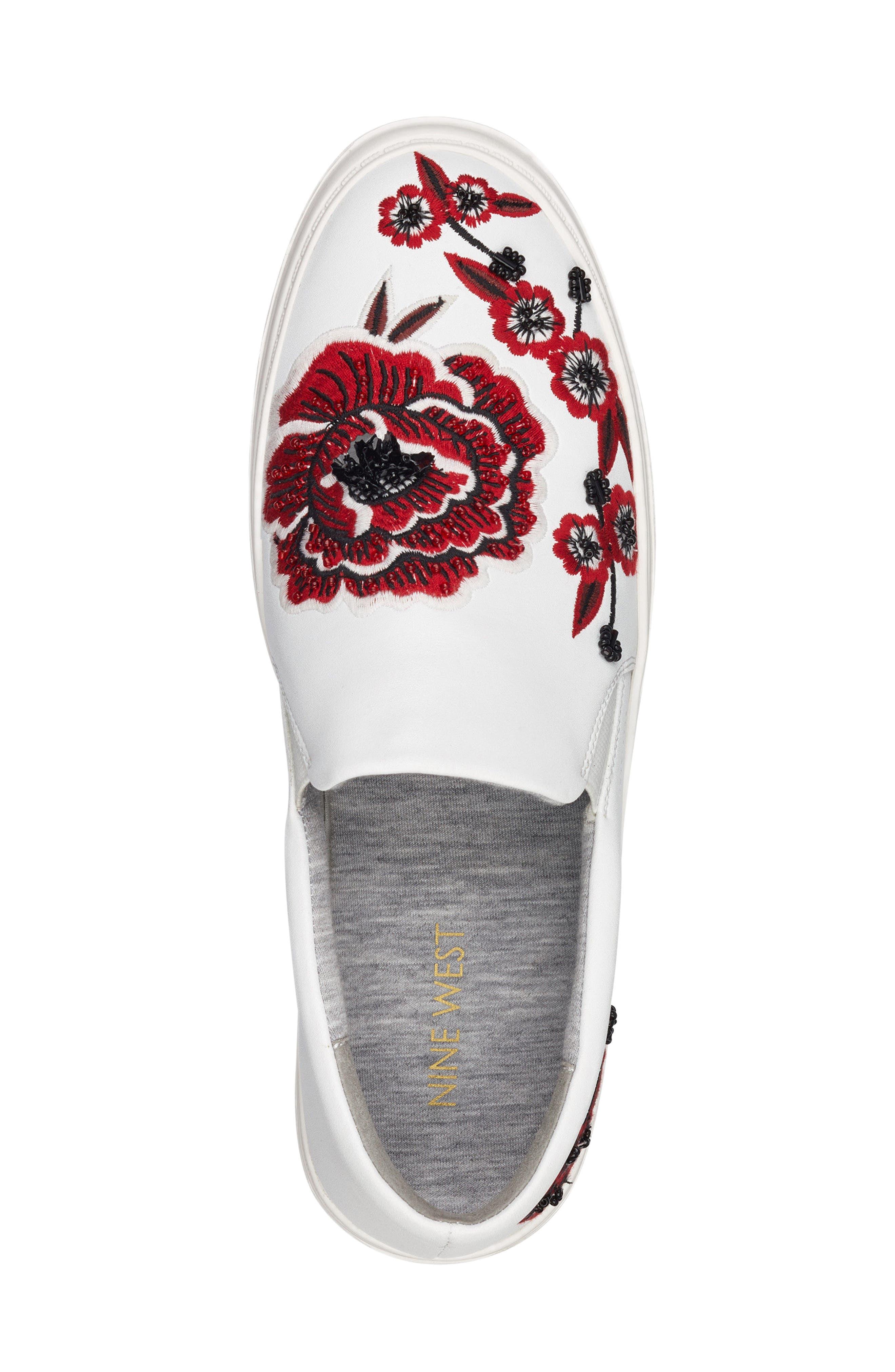 Alternate Image 5  - Nine West Onyeka Embroidered Slip-On Sneaker (Women)