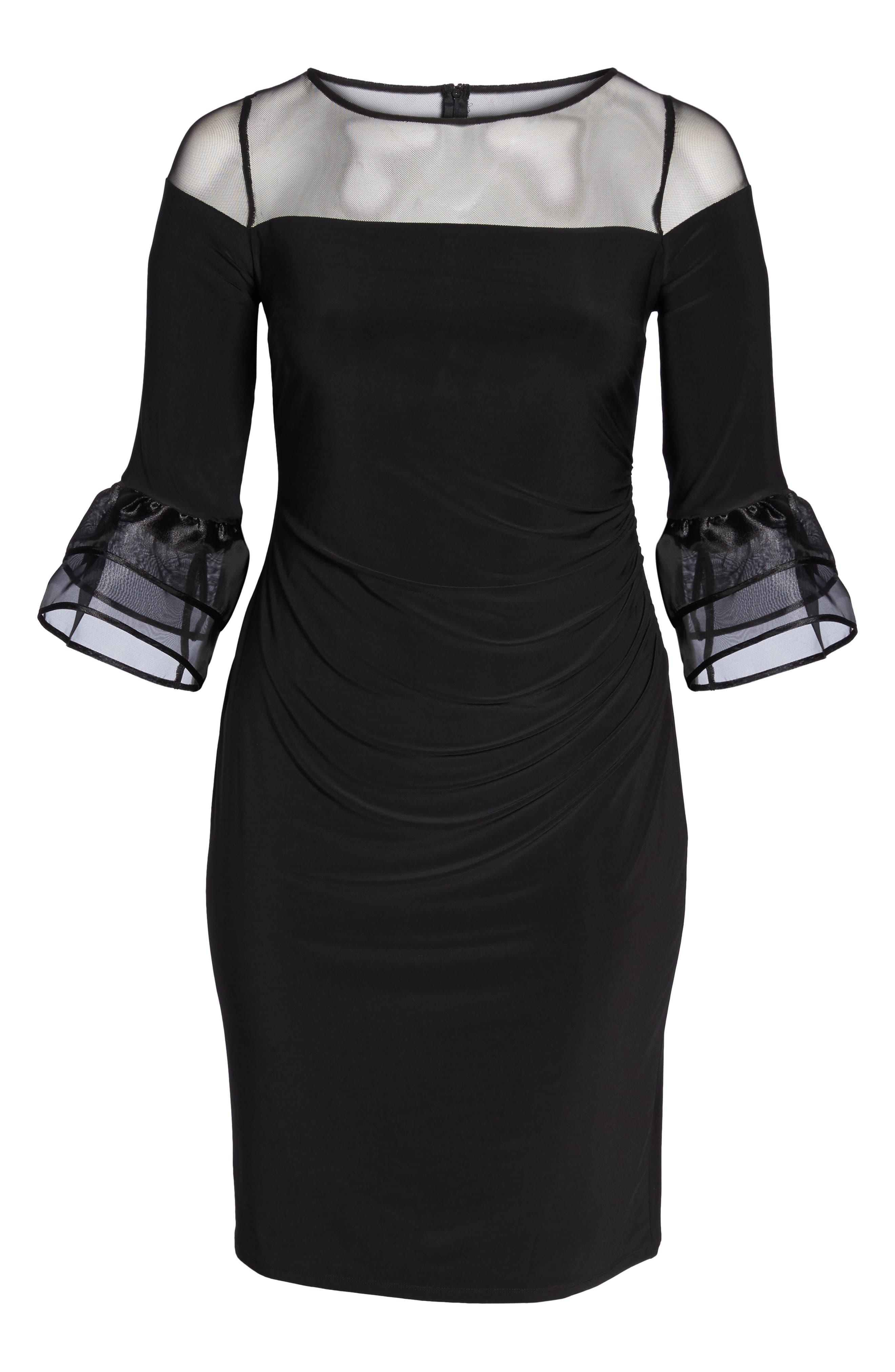 Illusion Yoke Bell Sleeve Sheath Dress,                             Alternate thumbnail 6, color,                             Black