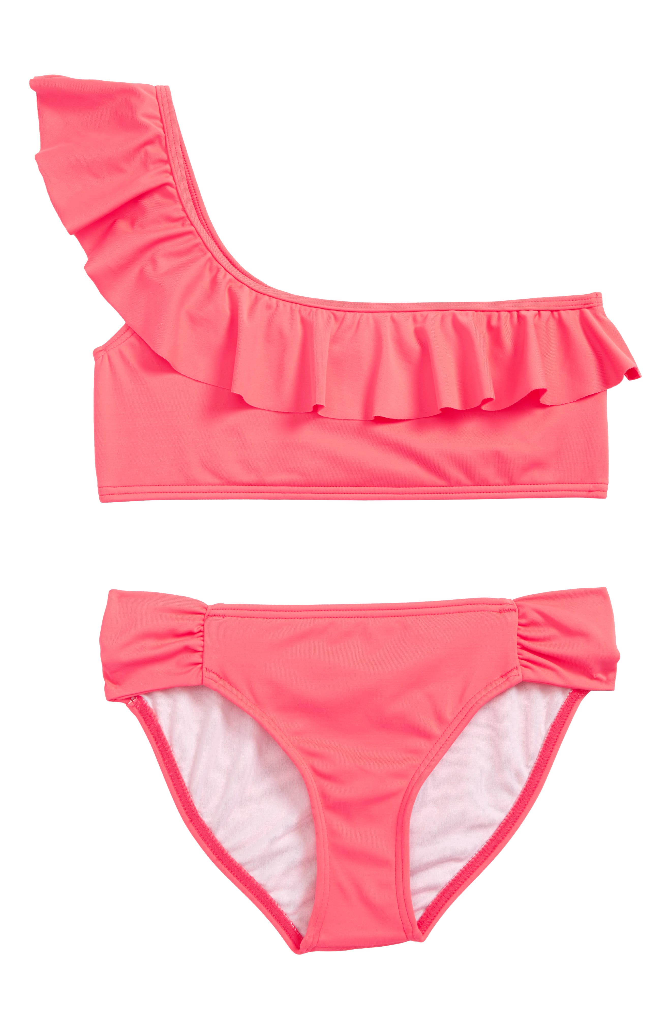 Sol Searcher Two-Piece Swimsuit,                         Main,                         color, Neon Coral