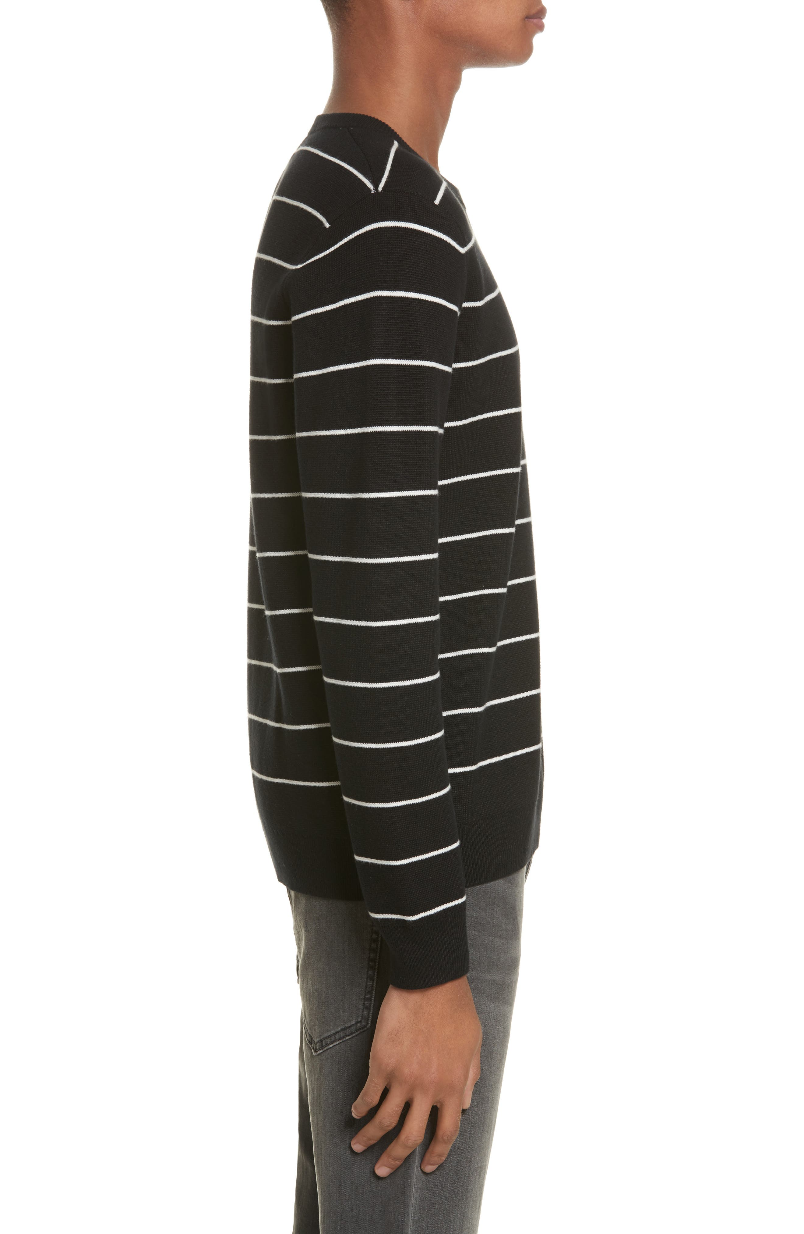 Stripe Cotton Blend Sweater,                             Alternate thumbnail 3, color,                             Black