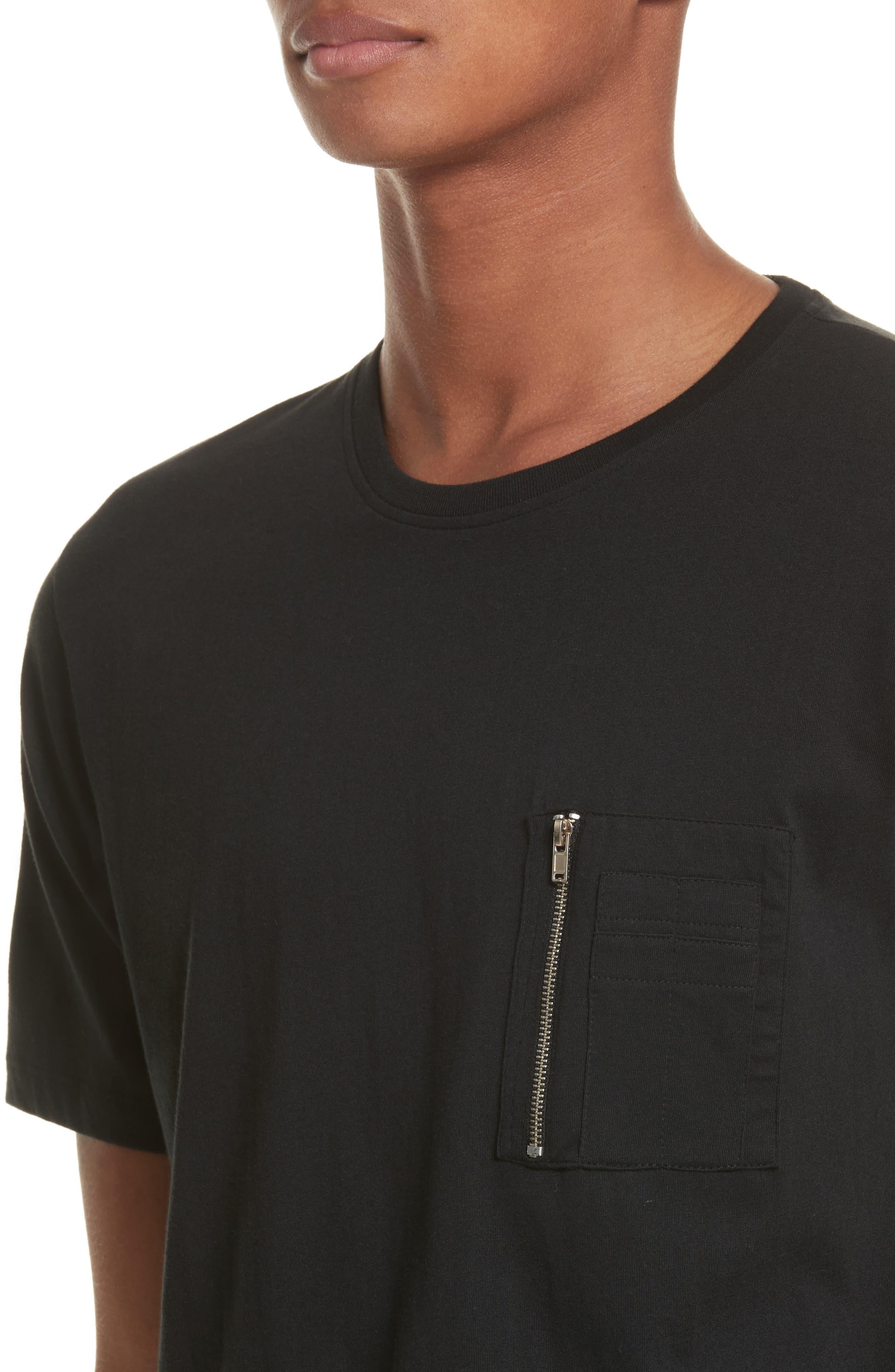 Zip Pocket T-Shirt,                             Alternate thumbnail 4, color,                             Black