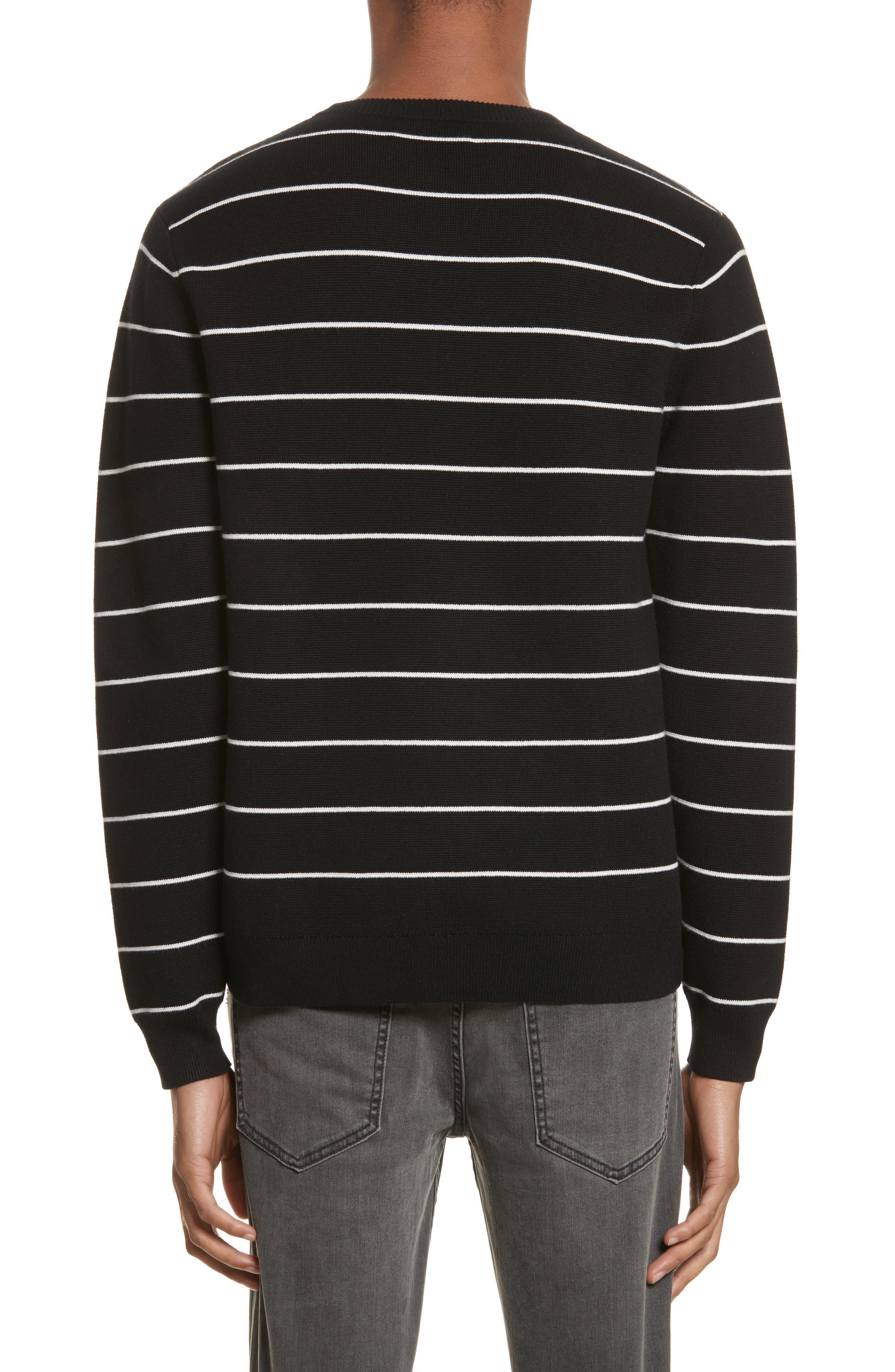 Stripe Cotton Blend Sweater,                             Alternate thumbnail 2, color,                             Black