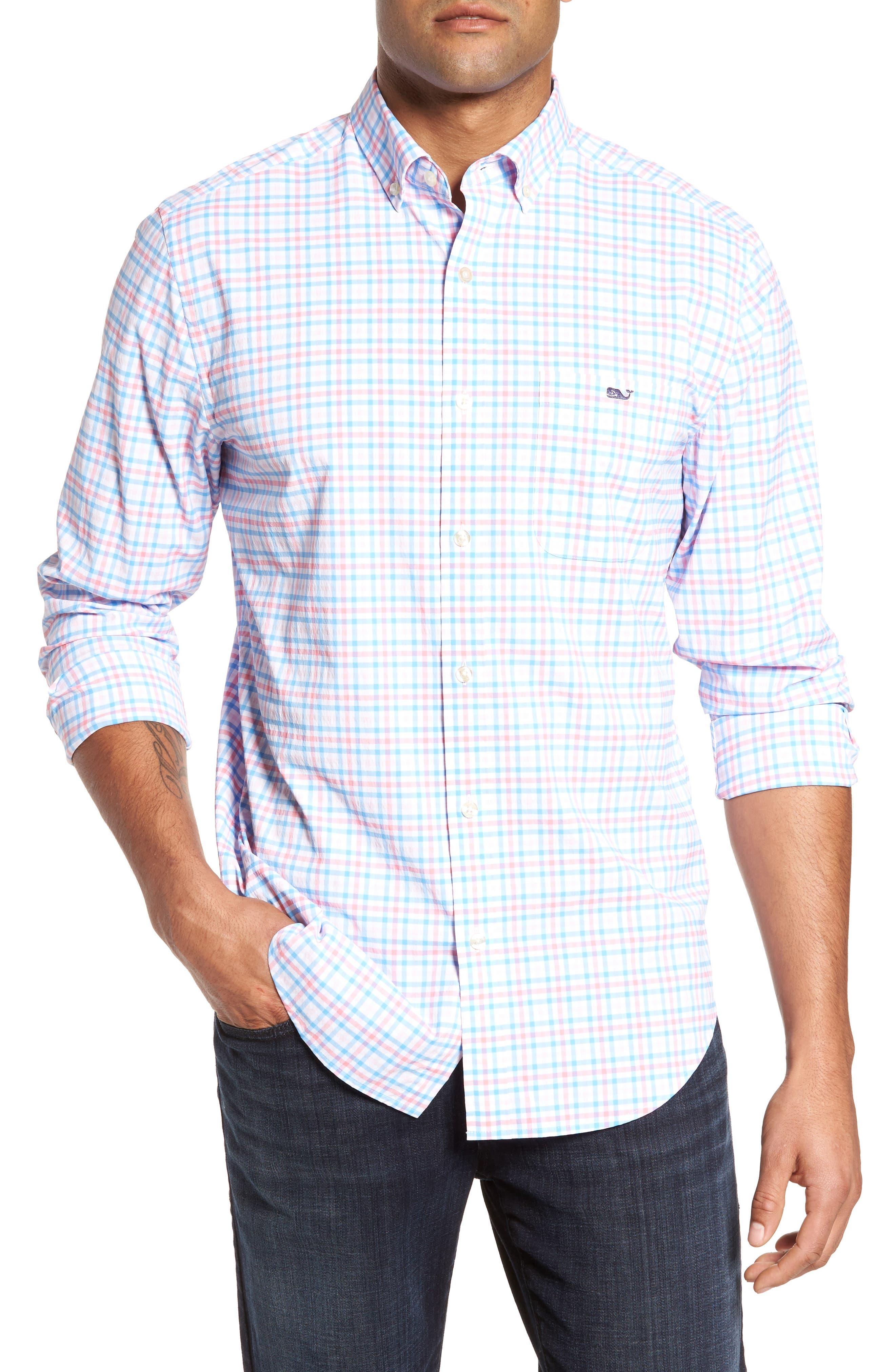 Gulf Shore Tucker Classic Fit Gingham Sport Shirt,                         Main,                         color, Bahama Breeze