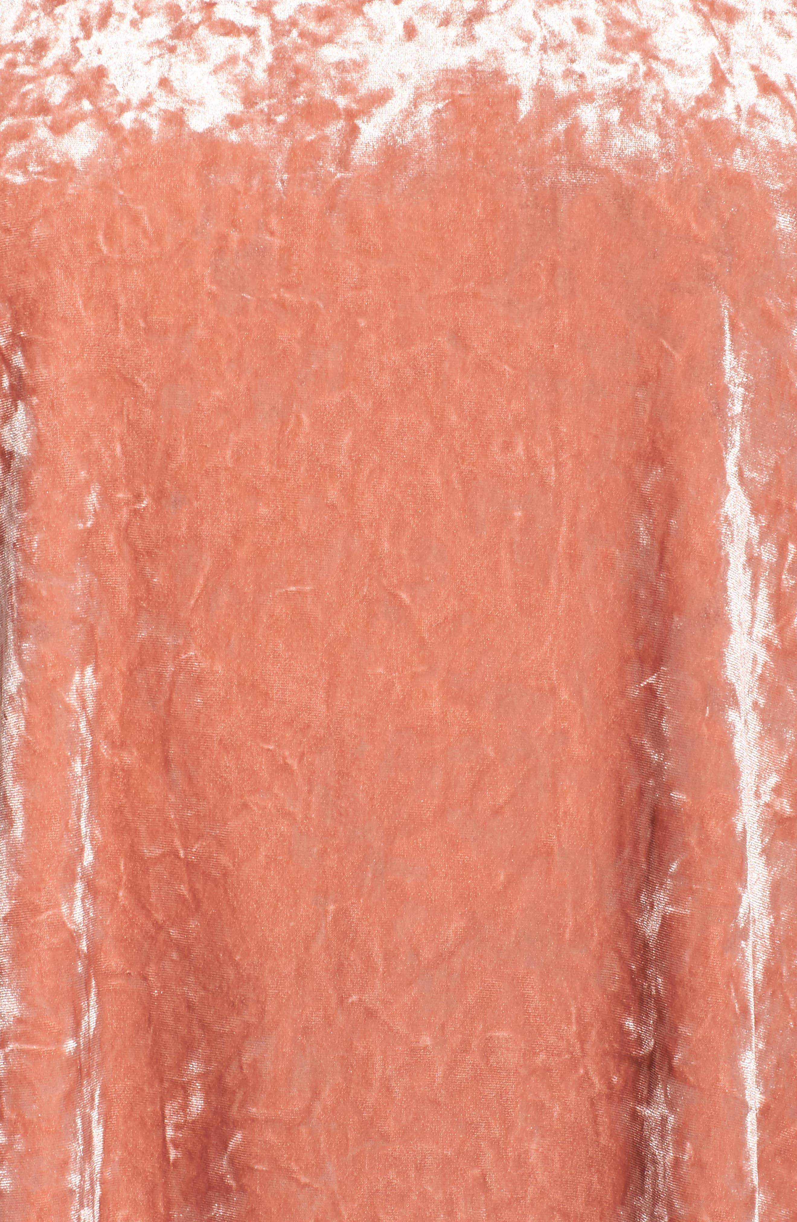 Off the Shoulder Crushed Velvet Top,                             Alternate thumbnail 5, color,                             Rose