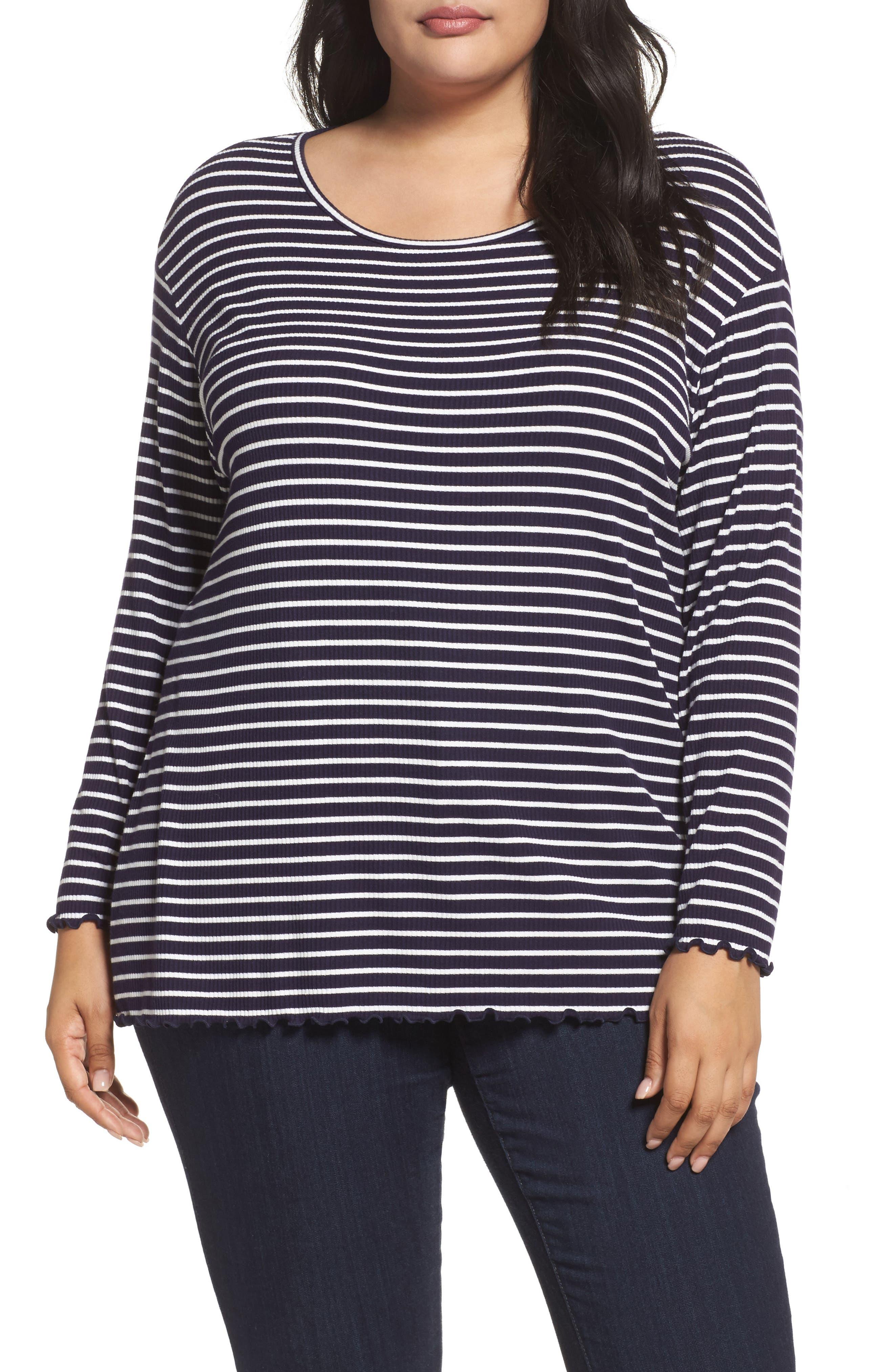 Scoop Neck Long Sleeve Tee,                         Main,                         color, Navy- White Stripe