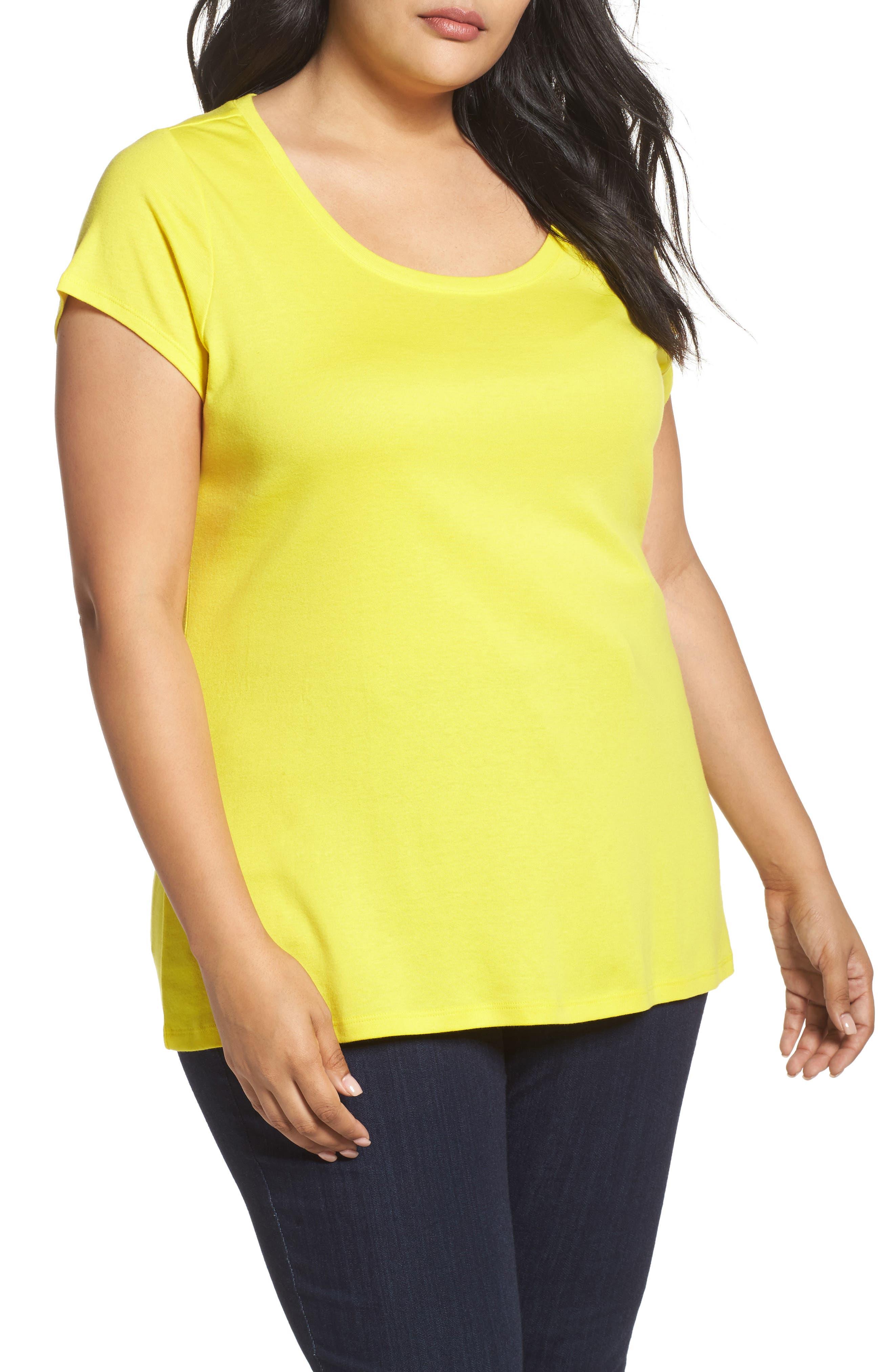Cap Sleeve Ribbed Tee,                         Main,                         color, Yellow Vibrant