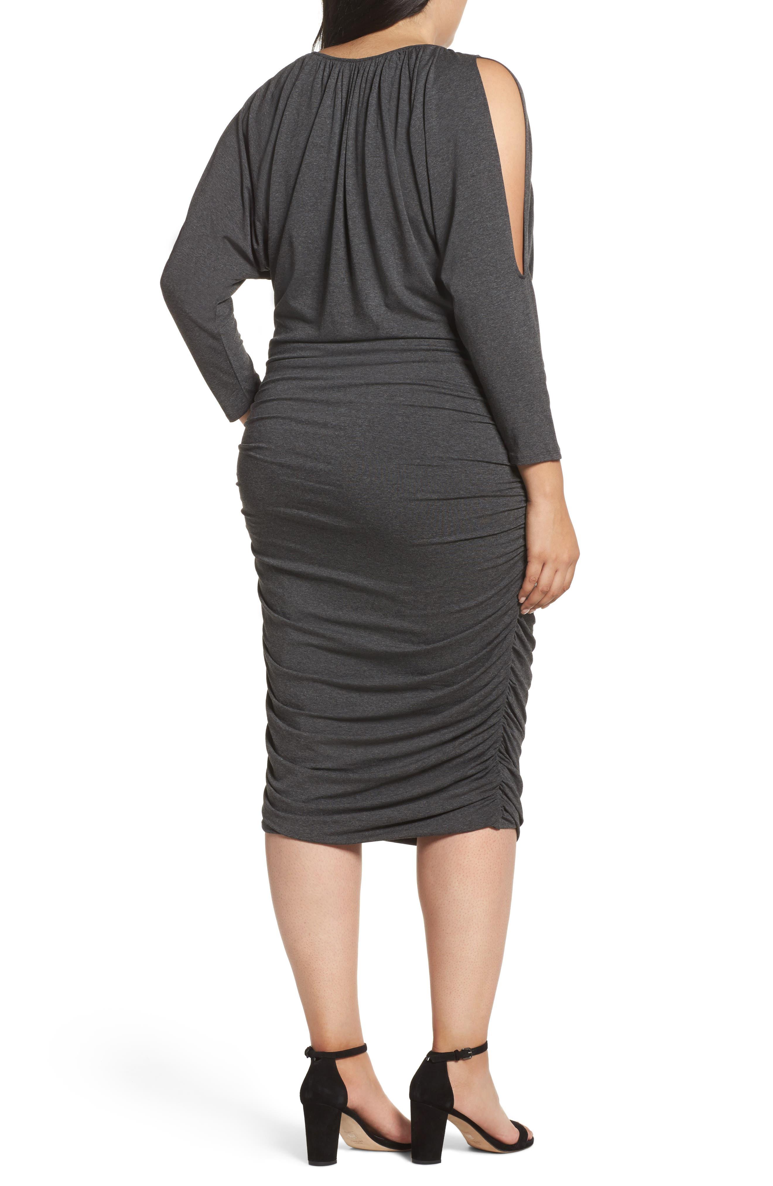 Slit Sleeve Knit Sheath Dress,                             Alternate thumbnail 2, color,                             Medium Heather Grey