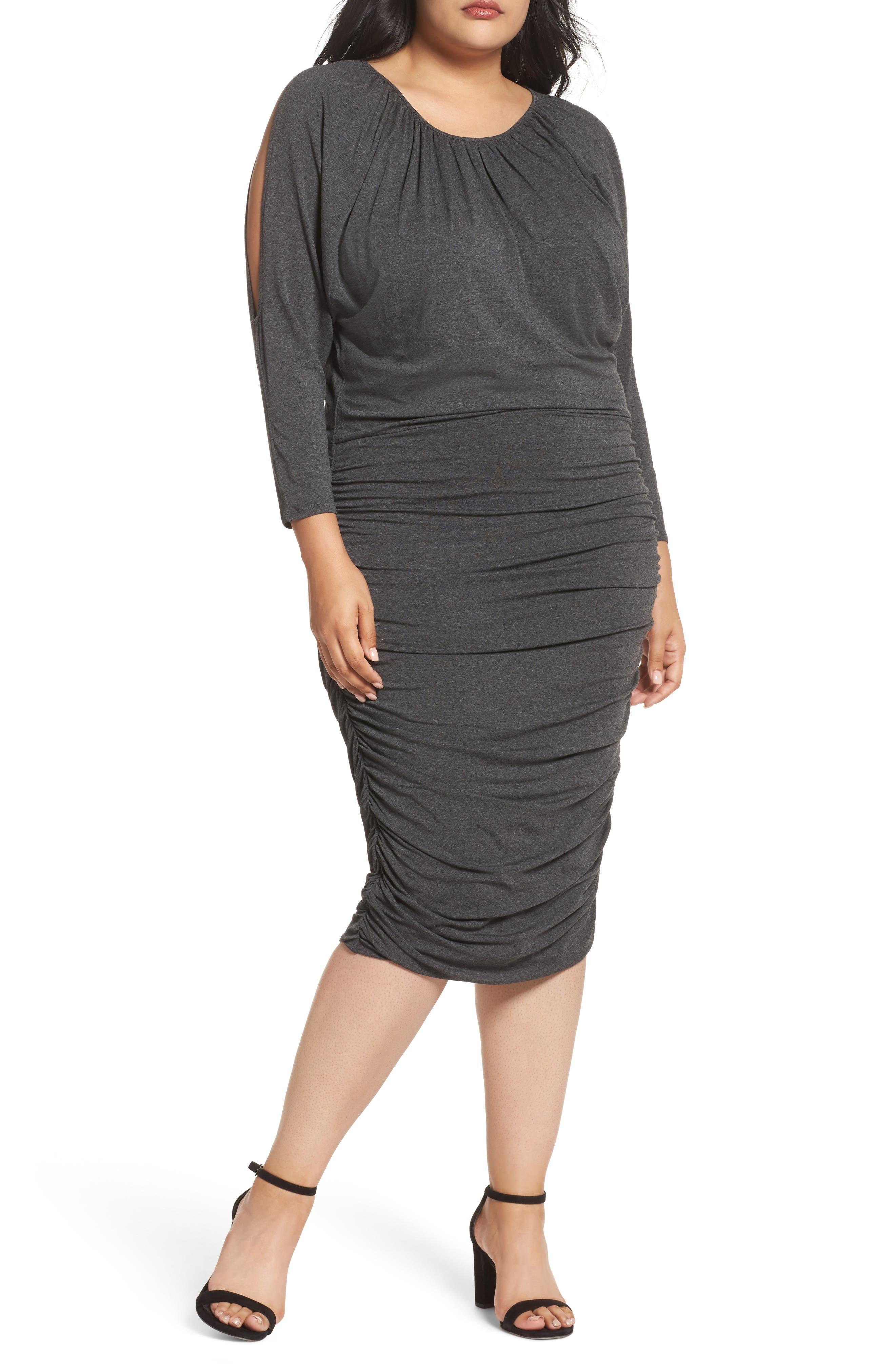 Slit Sleeve Knit Sheath Dress,                             Main thumbnail 1, color,                             Medium Heather Grey