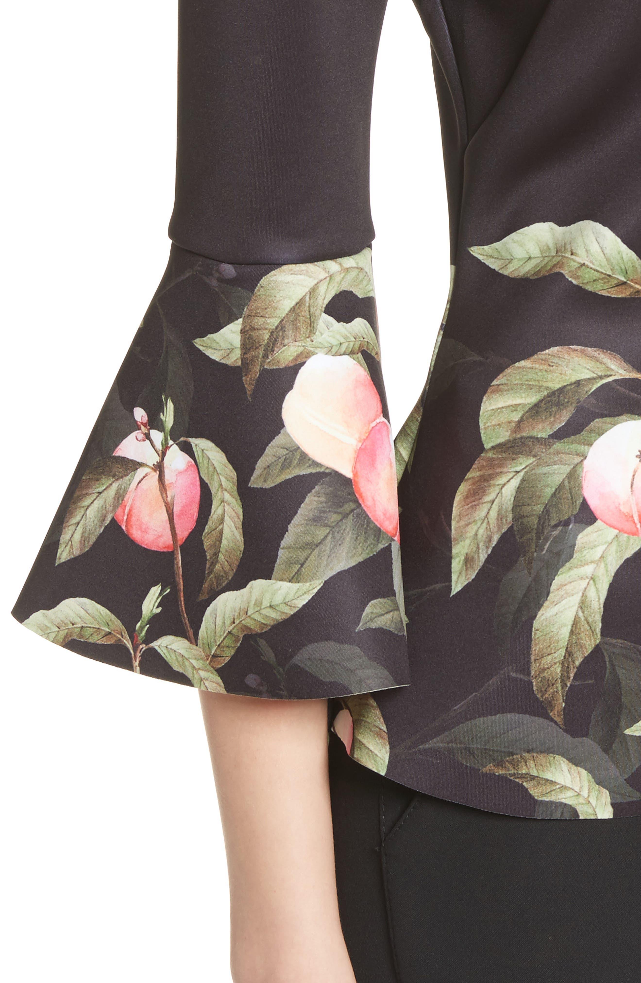 Peach Blossom Bell Sleeve Top,                             Alternate thumbnail 4, color,                             Black