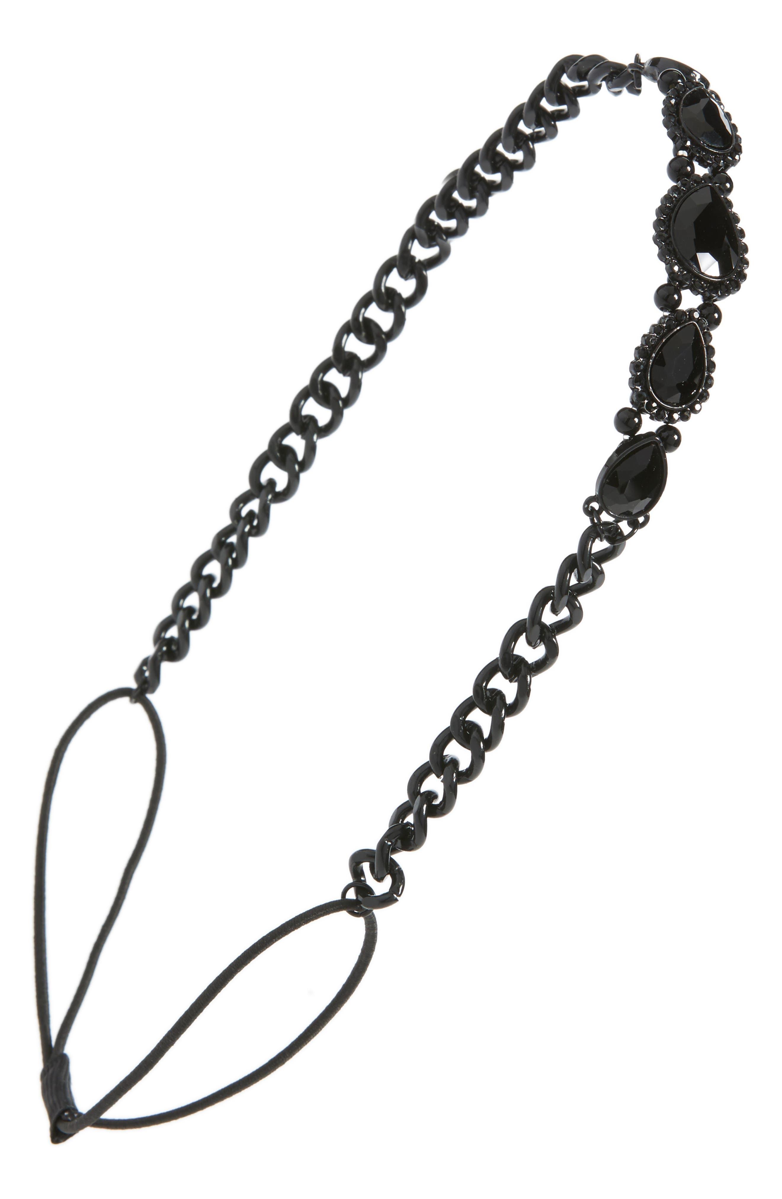 Crystal Chain Head Wrap,                         Main,                         color, Black