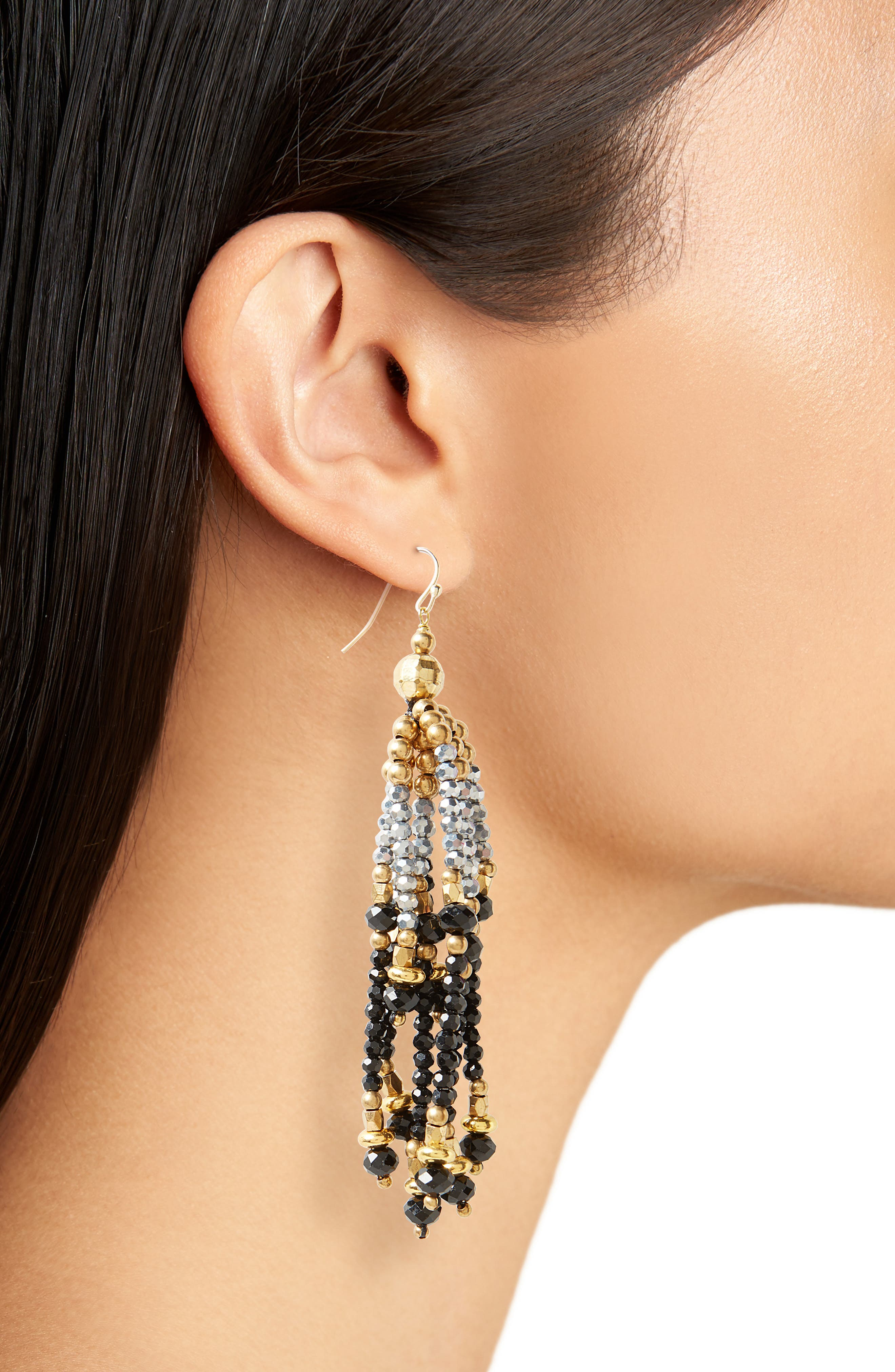 Tiered Tassel Earrings,                             Alternate thumbnail 2, color,                             Gold