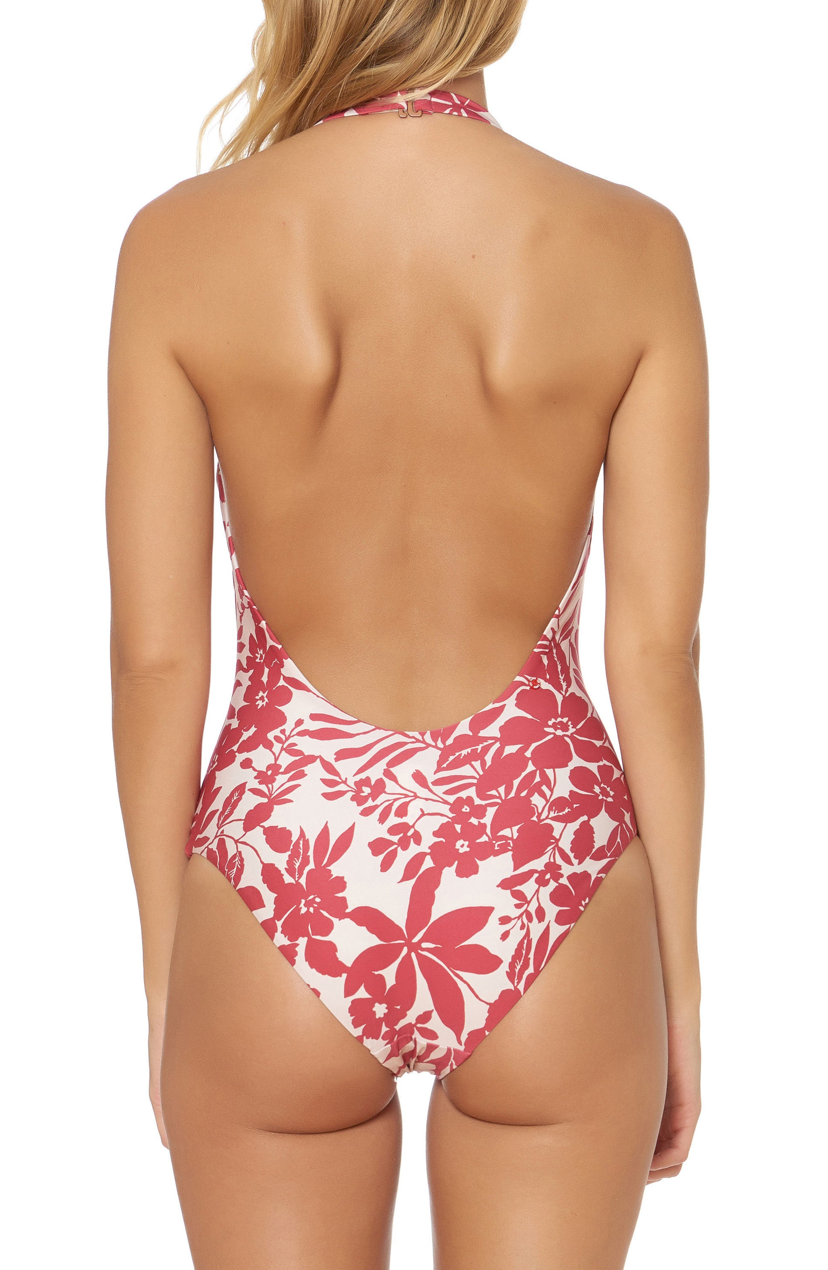Halter One-Piece Swimsuit,                             Alternate thumbnail 2, color,                             Ruby