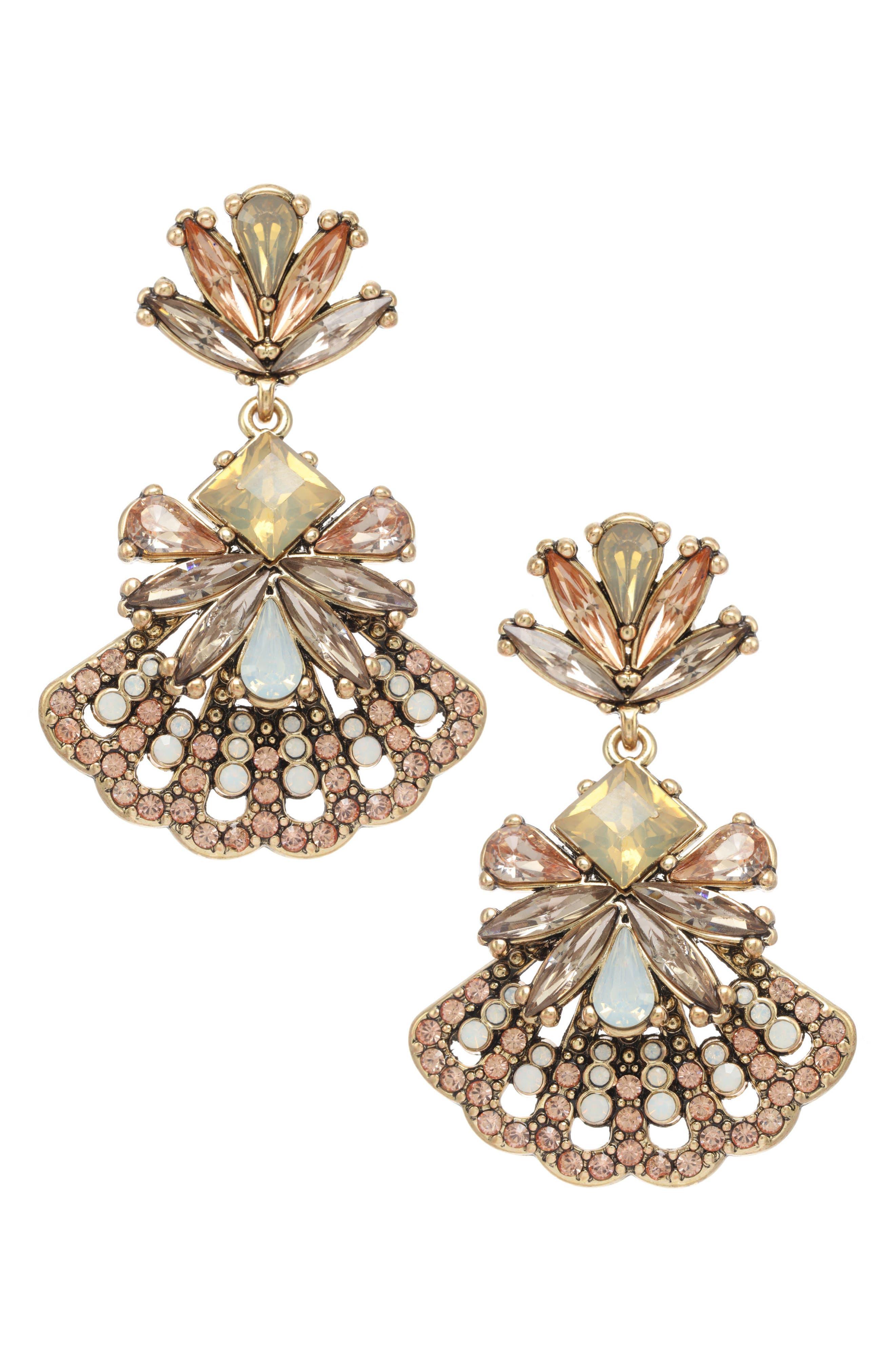 Crystal Fan Earrings,                             Main thumbnail 1, color,                             Antique Gold/ Peach