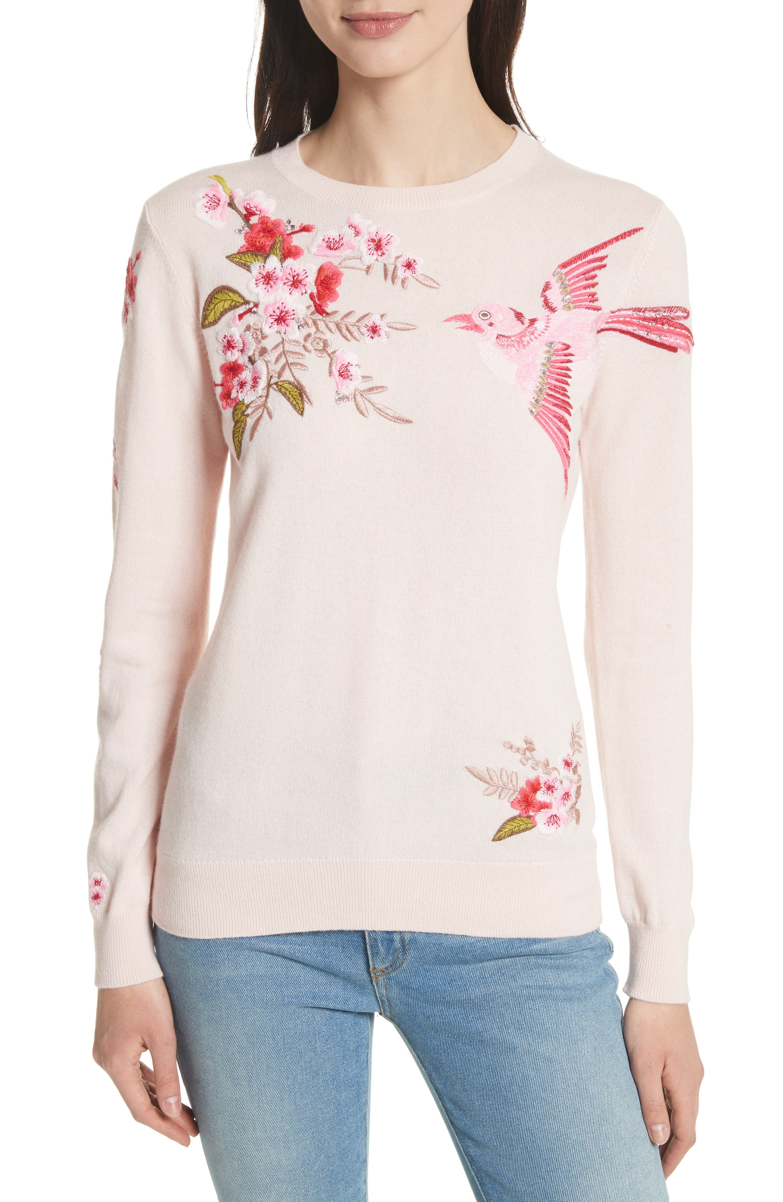Ted Baker London Peach Blossom Embroidered Sweater