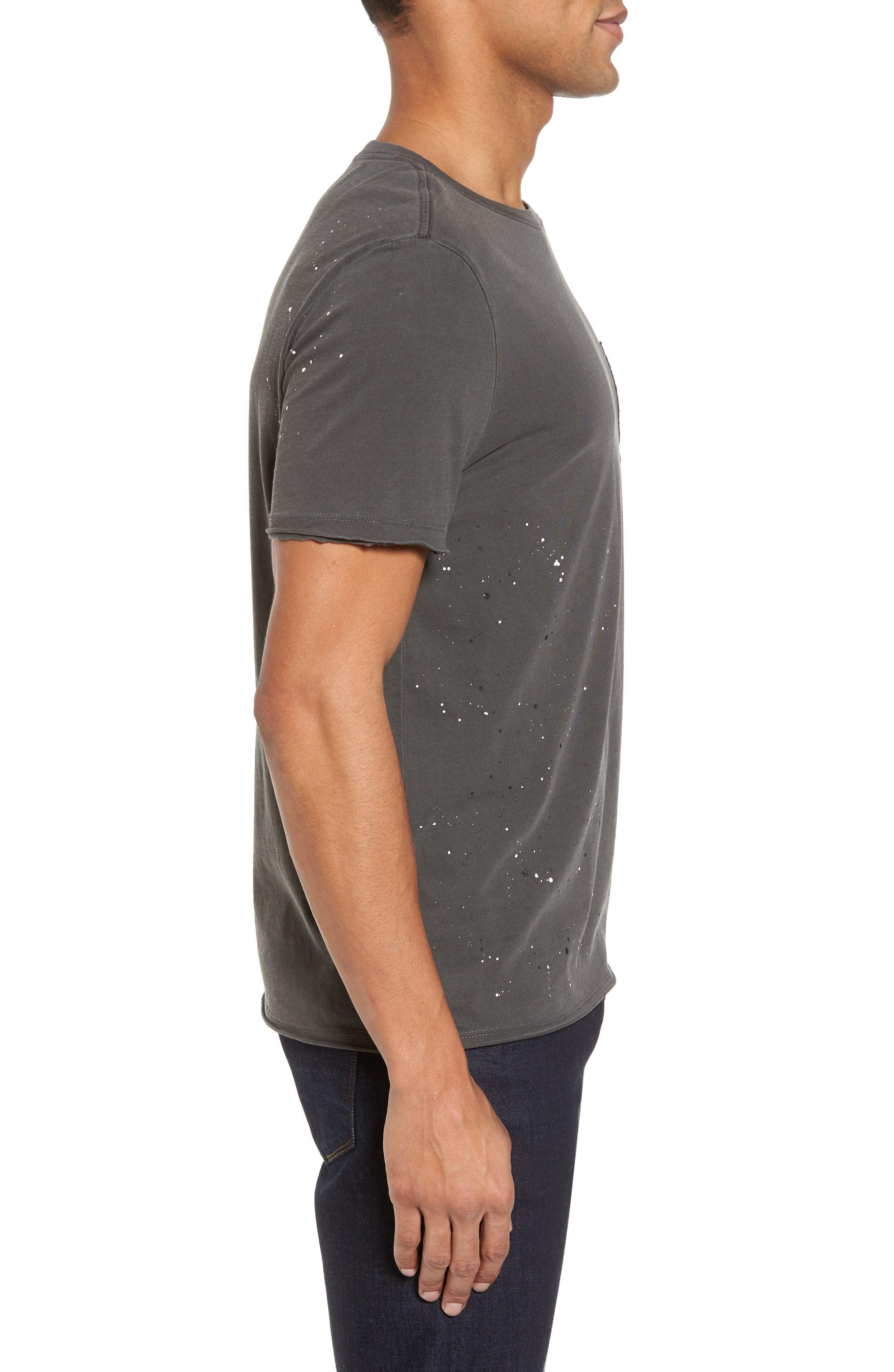 Anders Slim Fit Pocket T-Shirt,                             Alternate thumbnail 3, color,                             Multi Splatter Pigment Black