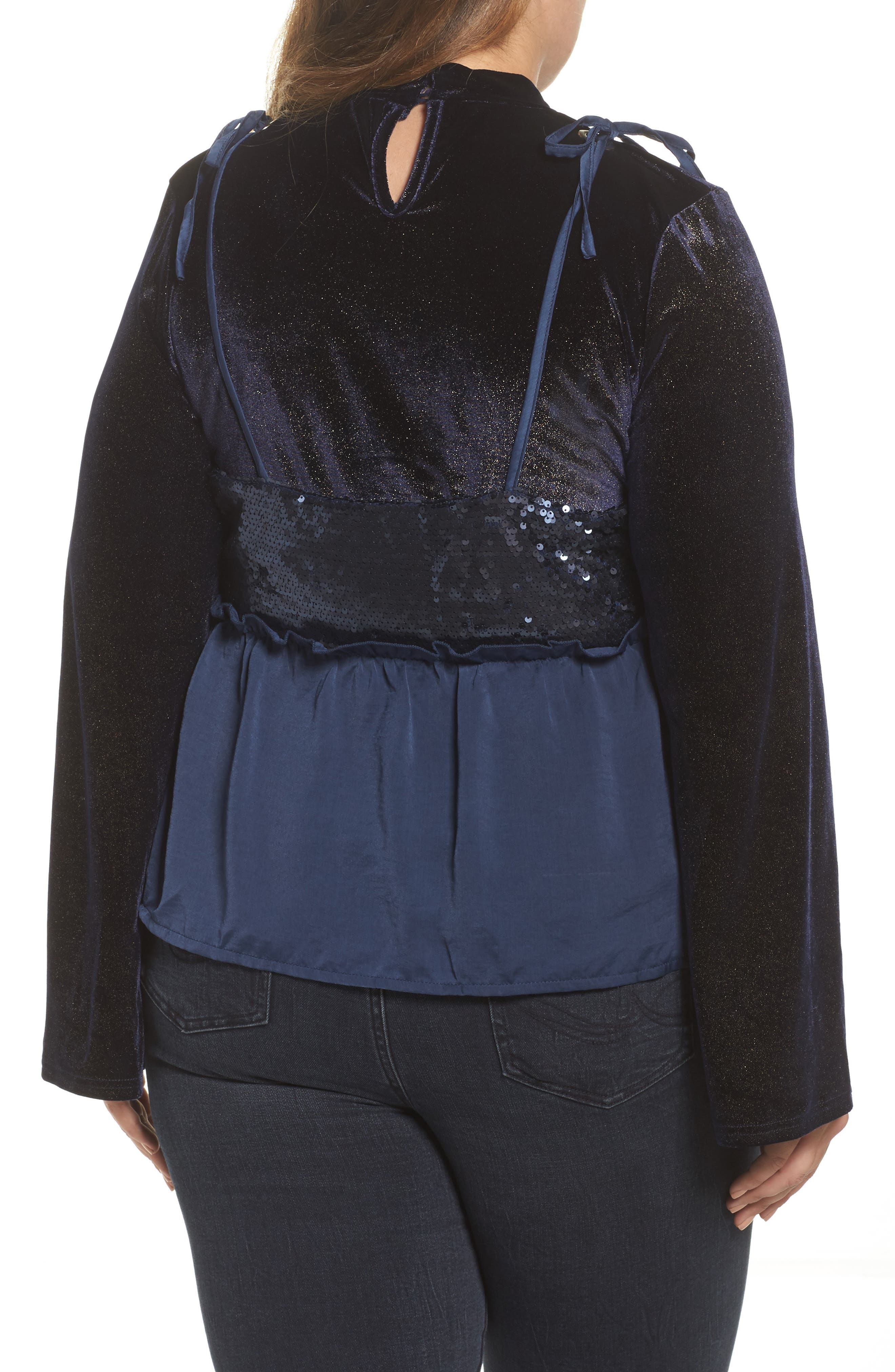 Alternate Image 2  - LOST INK Bell Sleeve Velvet Top with Sequin Cami (Plus Size)