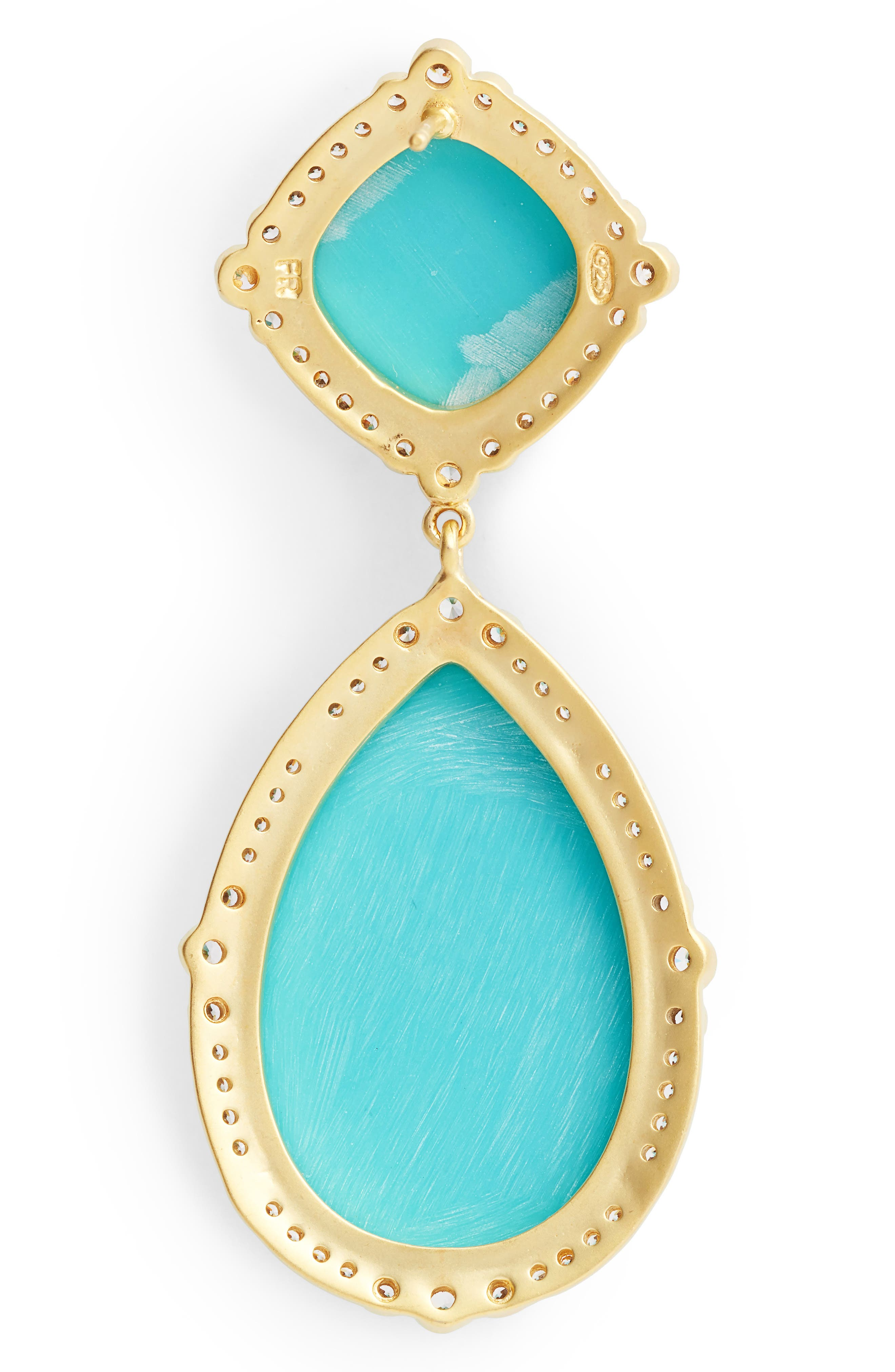 'Metropolitan' Stone Drop Earrings,                             Alternate thumbnail 2, color,                             Gold/ Turquoise