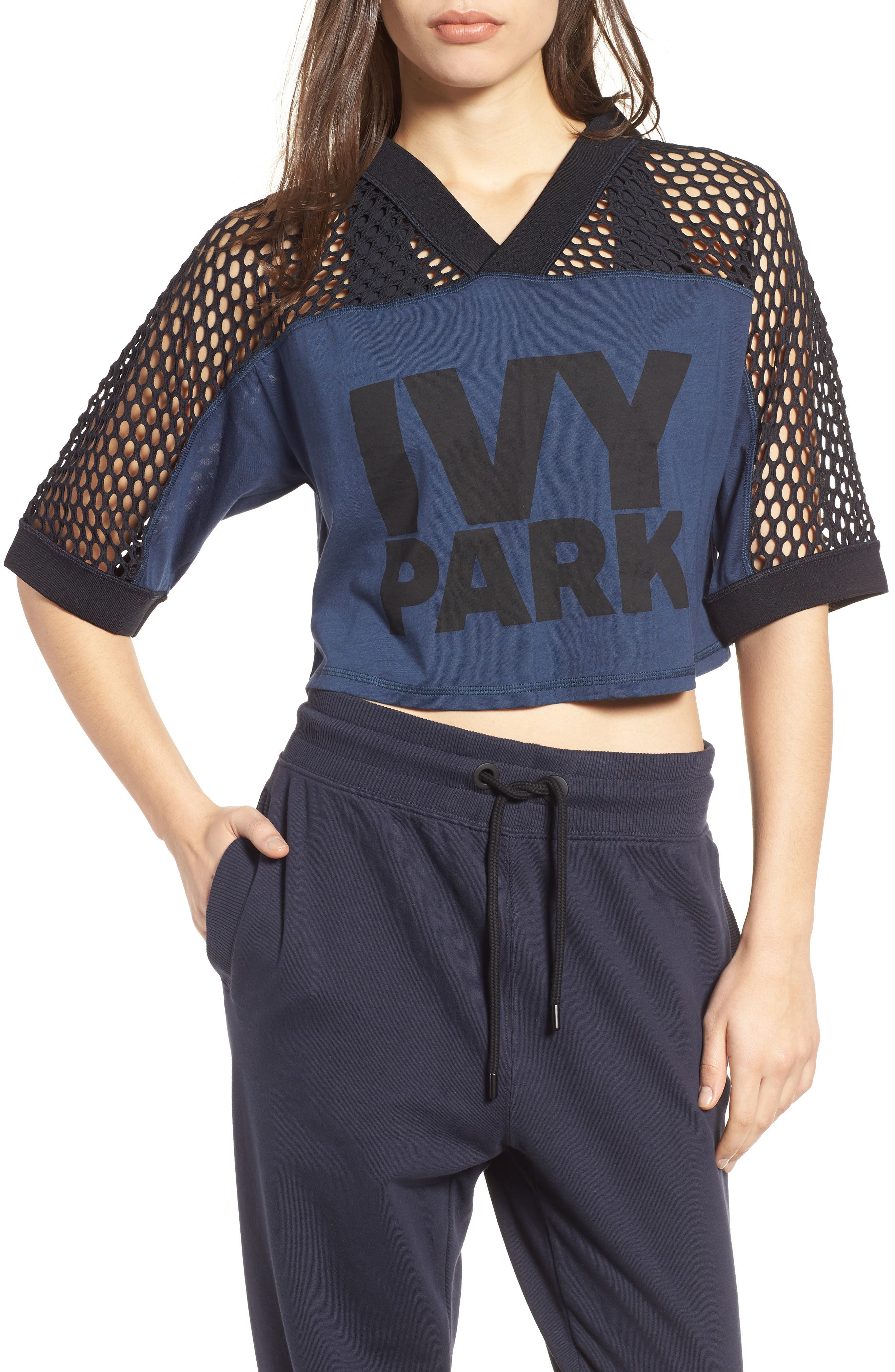 Mesh Mix Crop Tee,                             Main thumbnail 1, color,                             Rainstorm