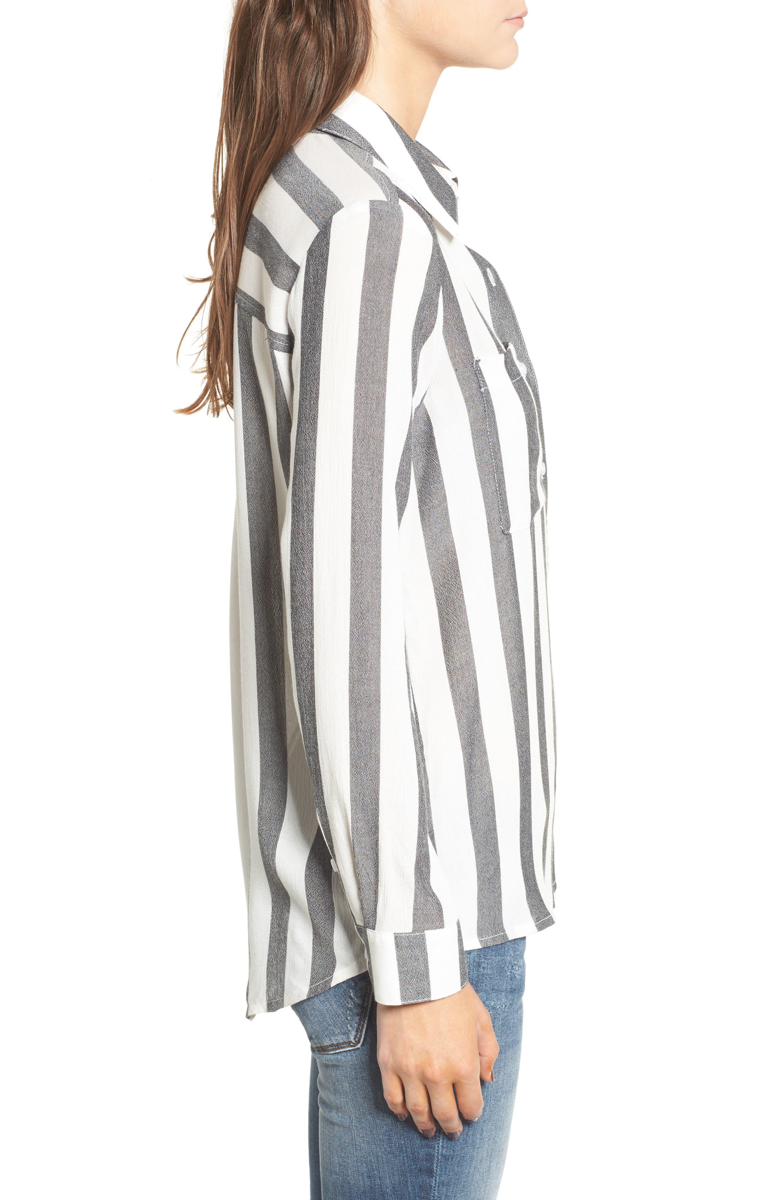 The Perfect Shirt,                             Alternate thumbnail 3, color,                             Black Flora Stripe