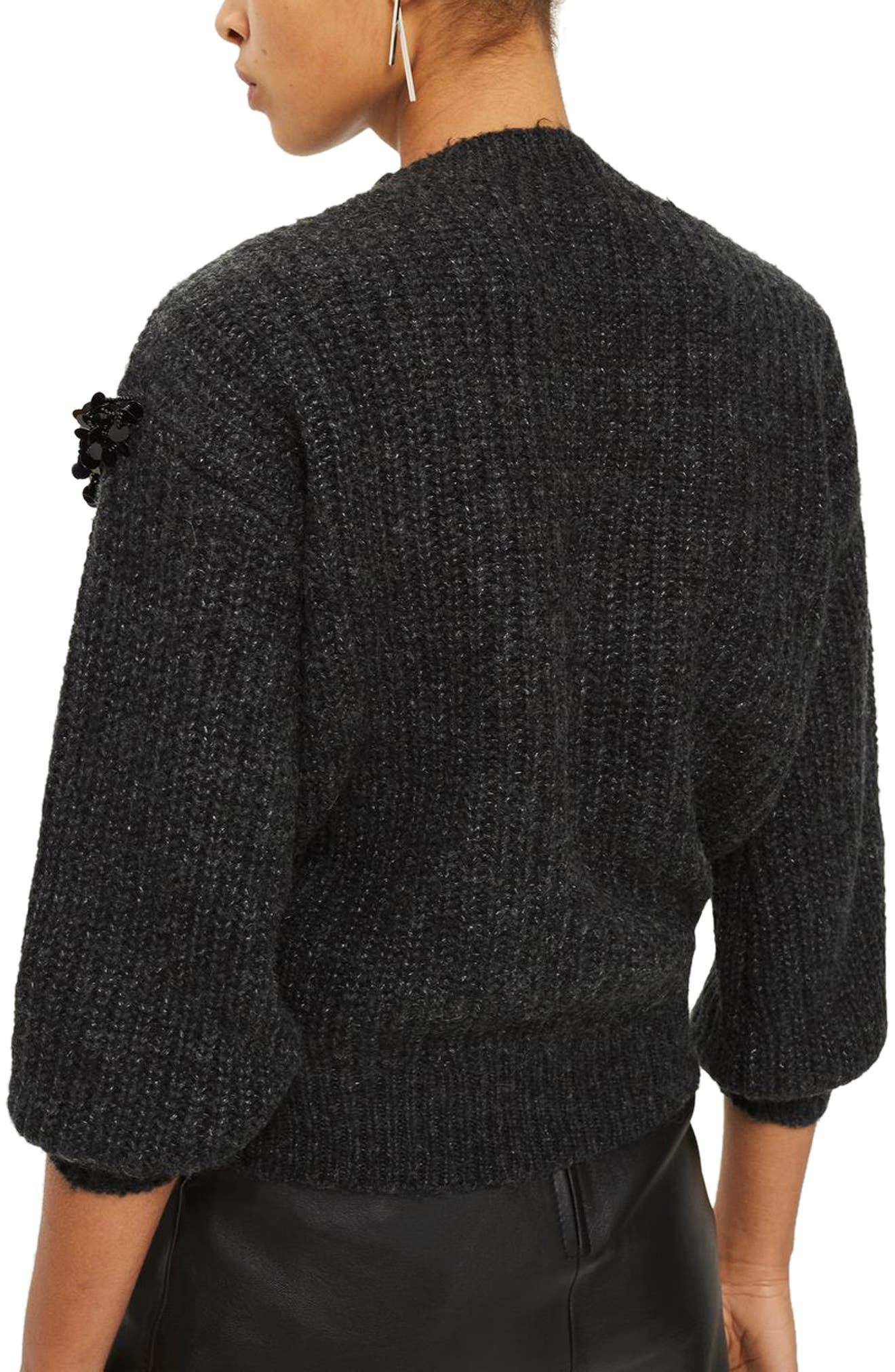 Cluster Embellished Sweater,                             Alternate thumbnail 2, color,                             Charcoal