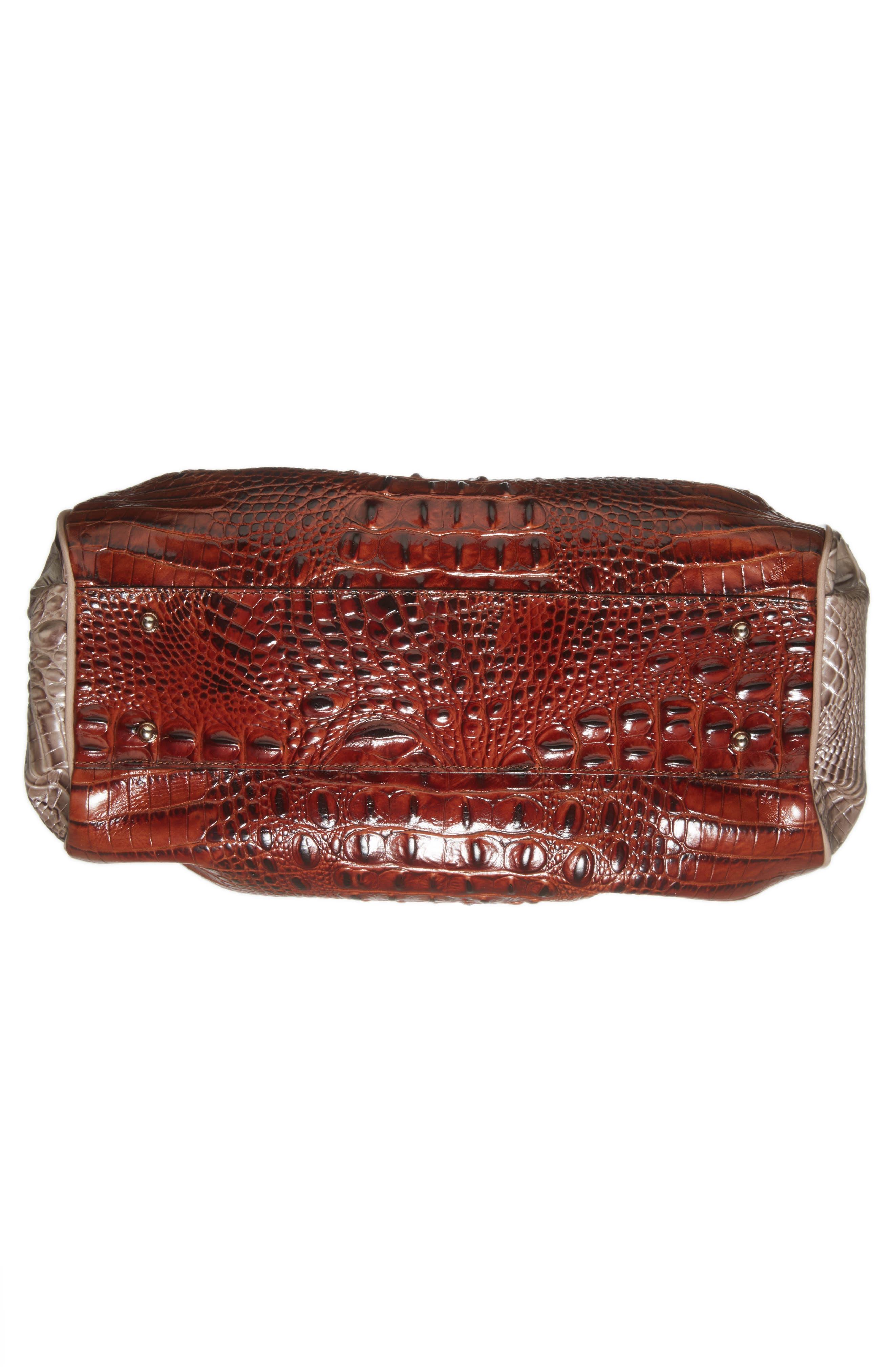 Elisa Croc Embossed Leather Shoulder Bag,                             Alternate thumbnail 6, color,                             Pecan