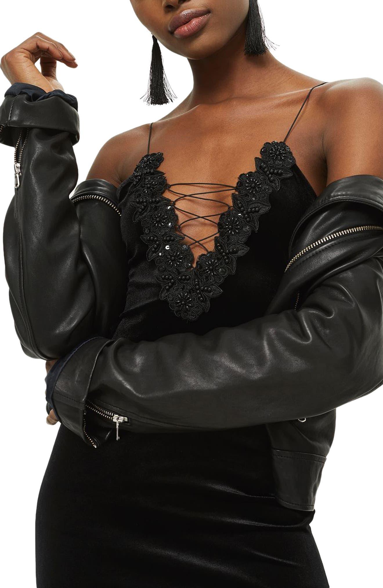 Alternate Image 3  - Topshop Lace-Up Velvet Body-Con Dress