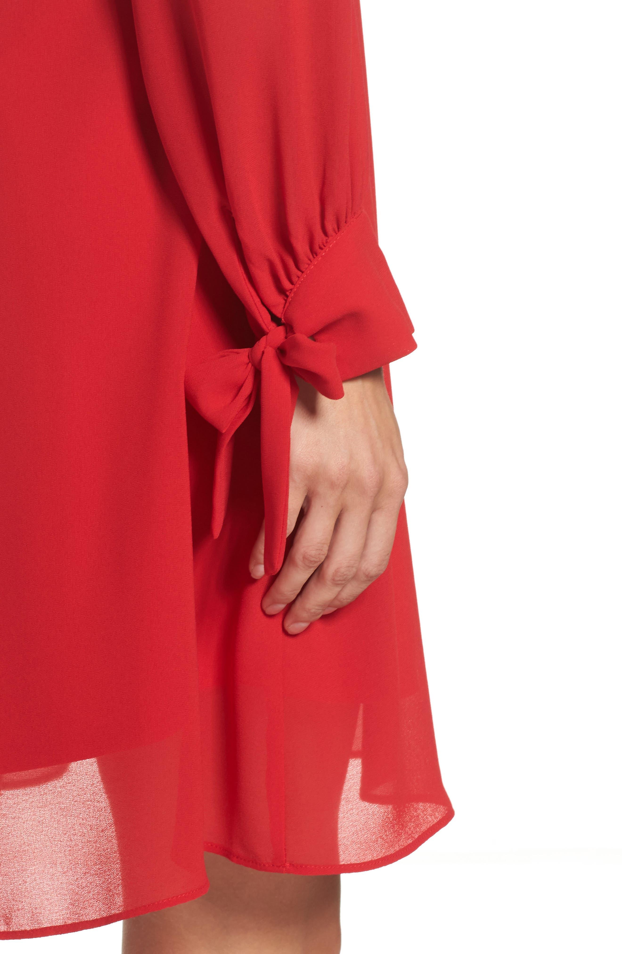 Souffle Chiffon Shift Dress,                             Alternate thumbnail 4, color,                             Crimson