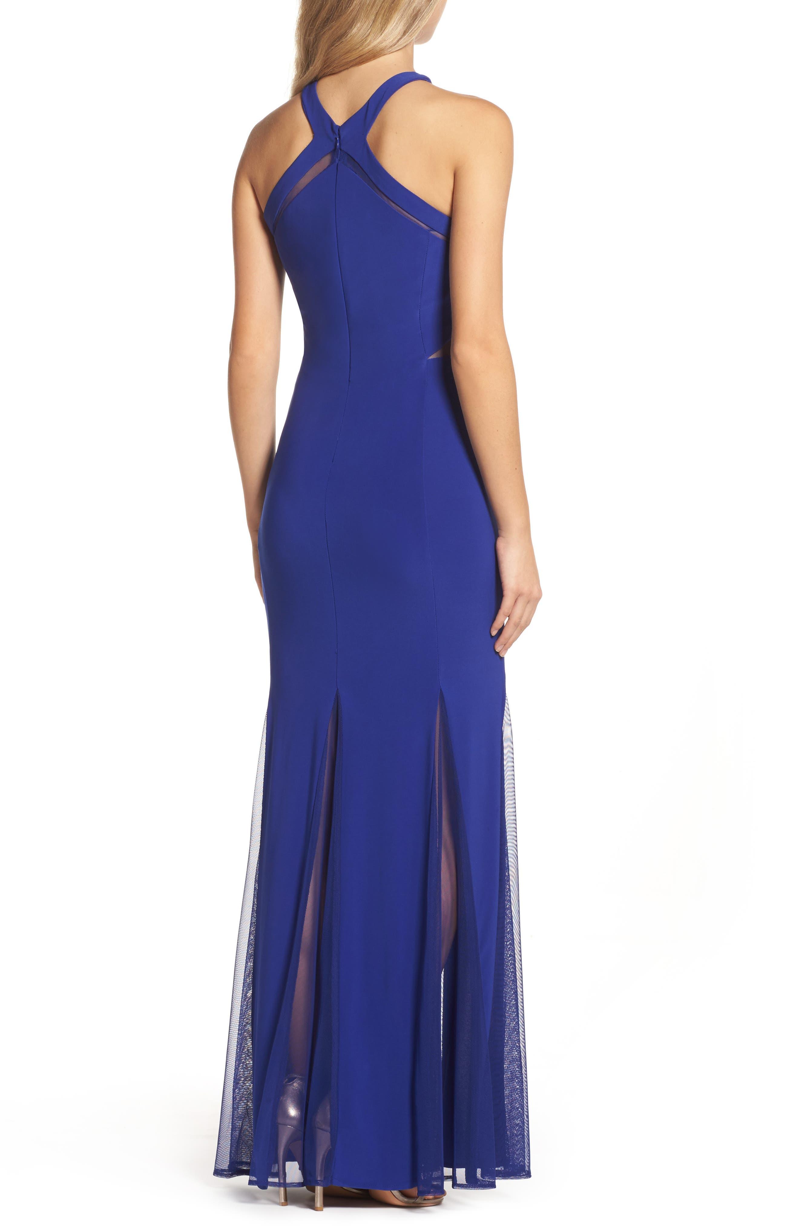 Alternate Image 2  - Morgan & Co. Mesh Inset Knit Mermaid Gown