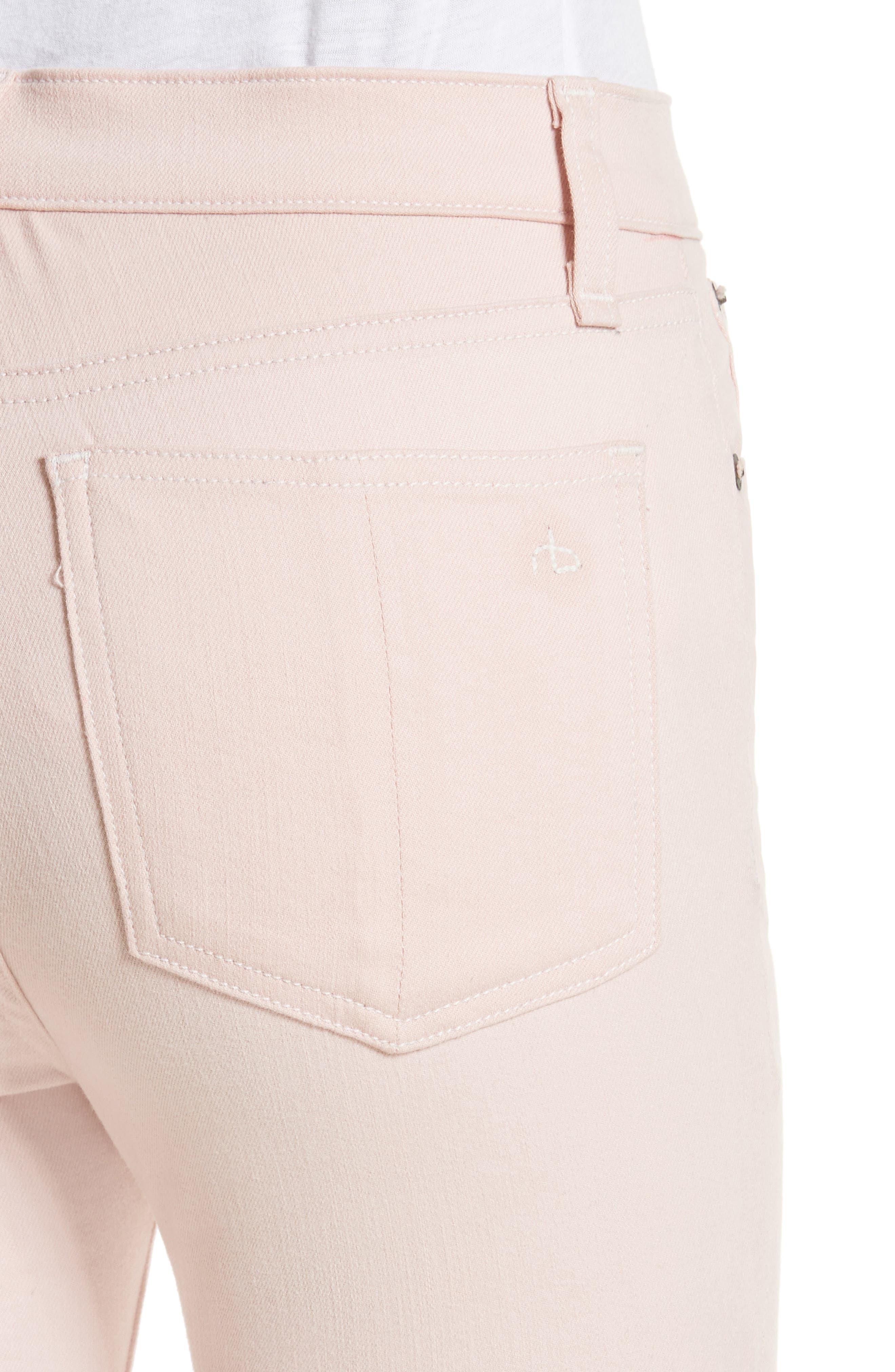 Alternate Image 4  - rag & bone/JEAN High Waist Ankle Skinny Jeans (Blush Twill)