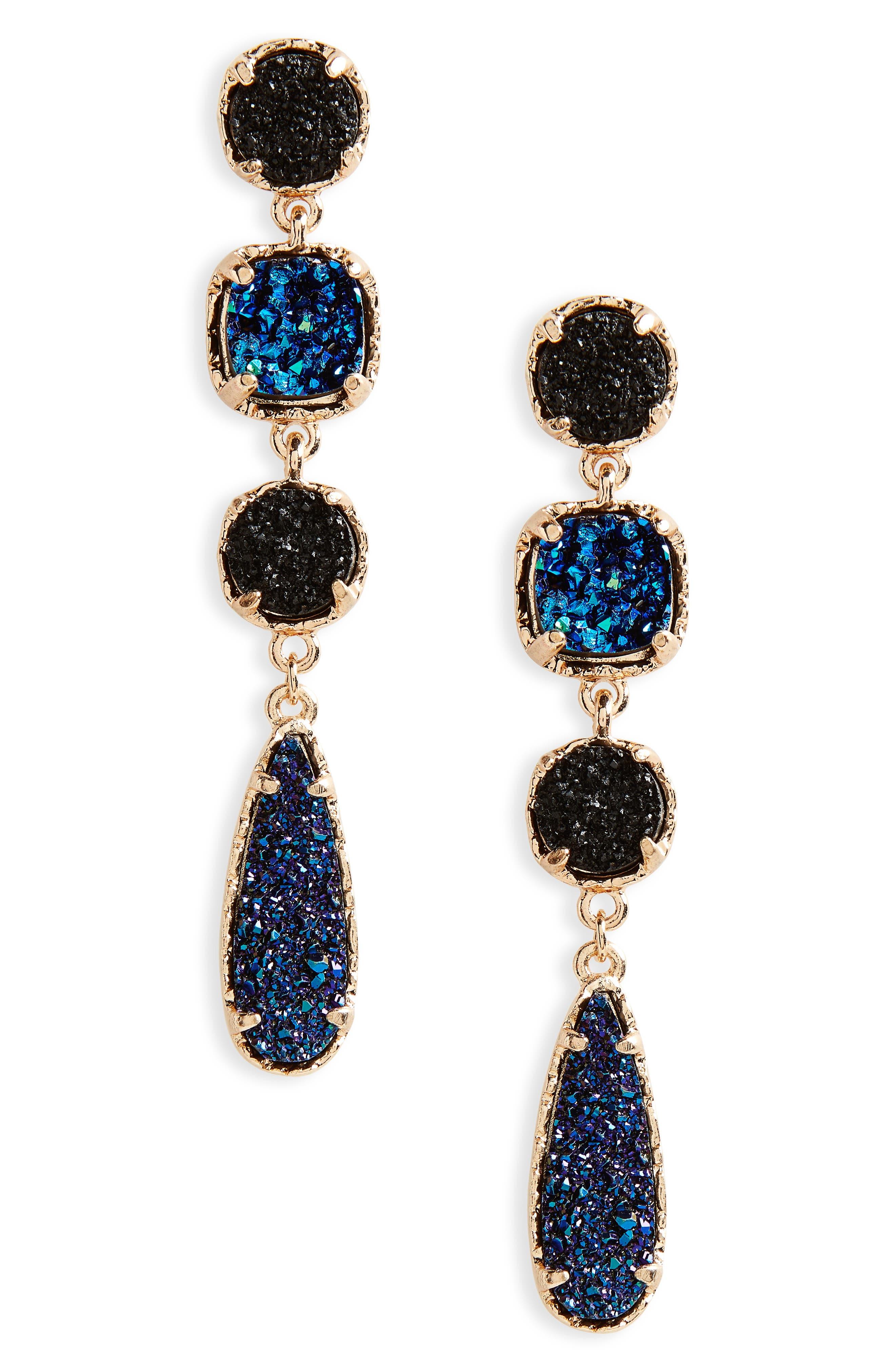 Linear Earrings,                         Main,                         color, Blue