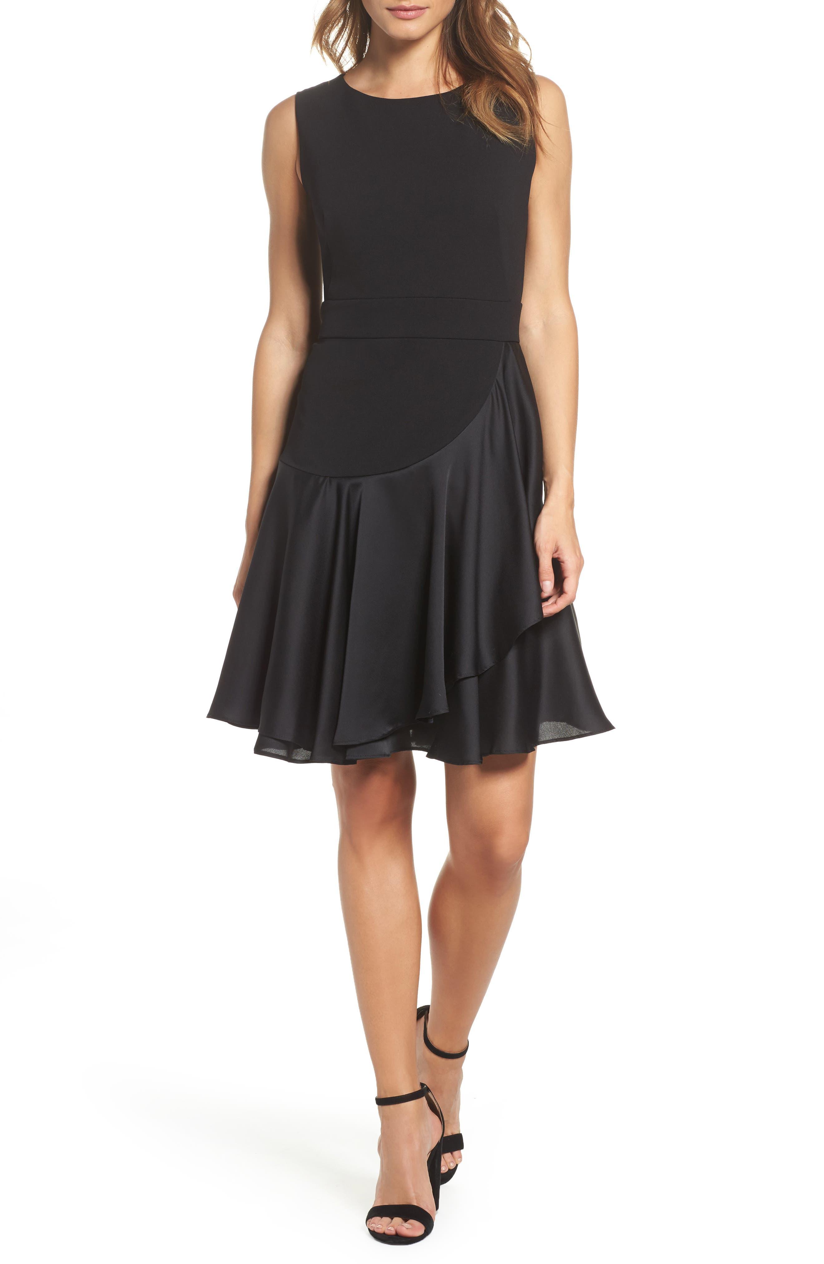Ruffle Hem Fit & Flare Dress,                         Main,                         color, Black