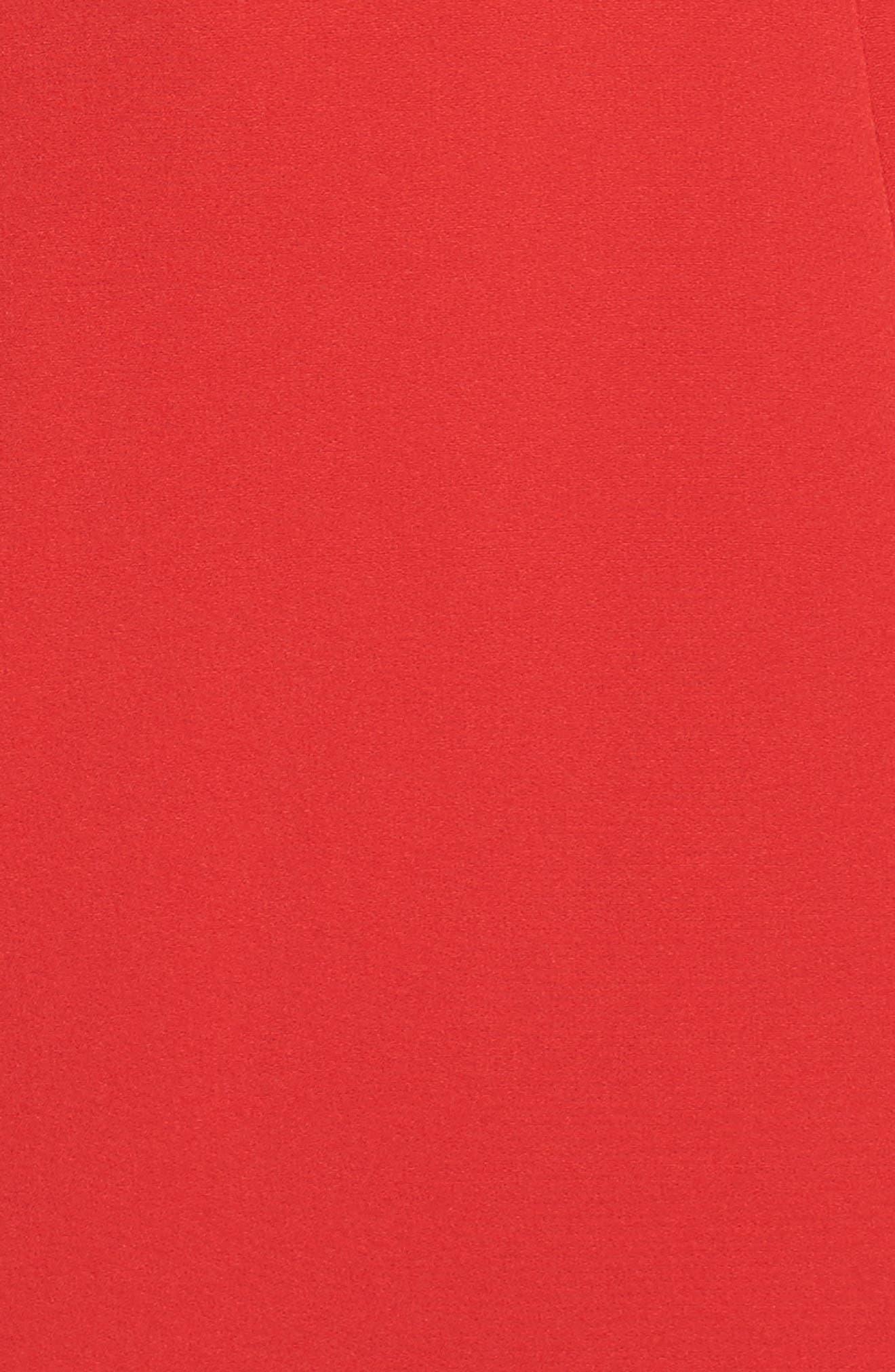 Ruffle Sleeve Sheath Dress,                             Alternate thumbnail 5, color,                             Red