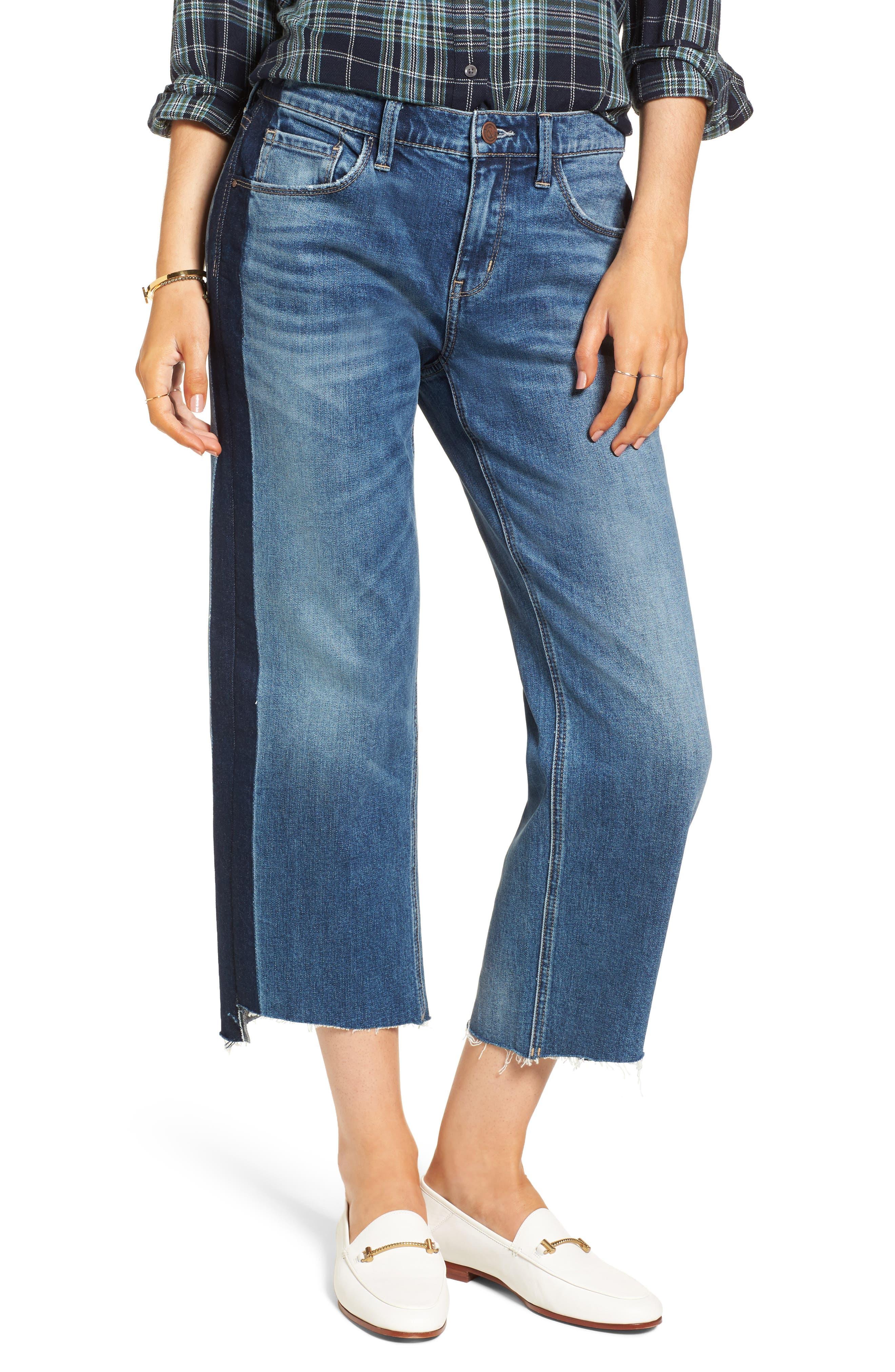 Main Image - Treasure & Bond Shelter Wide Leg Crop Jeans (Gravel Medium Stripe)