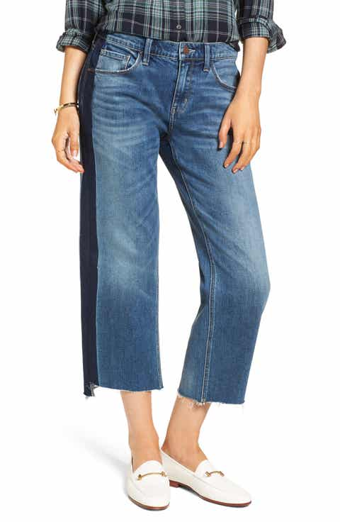 Treasure & Bond Shelter Wide Leg Crop Jeans (Gravel Medium Stripe)