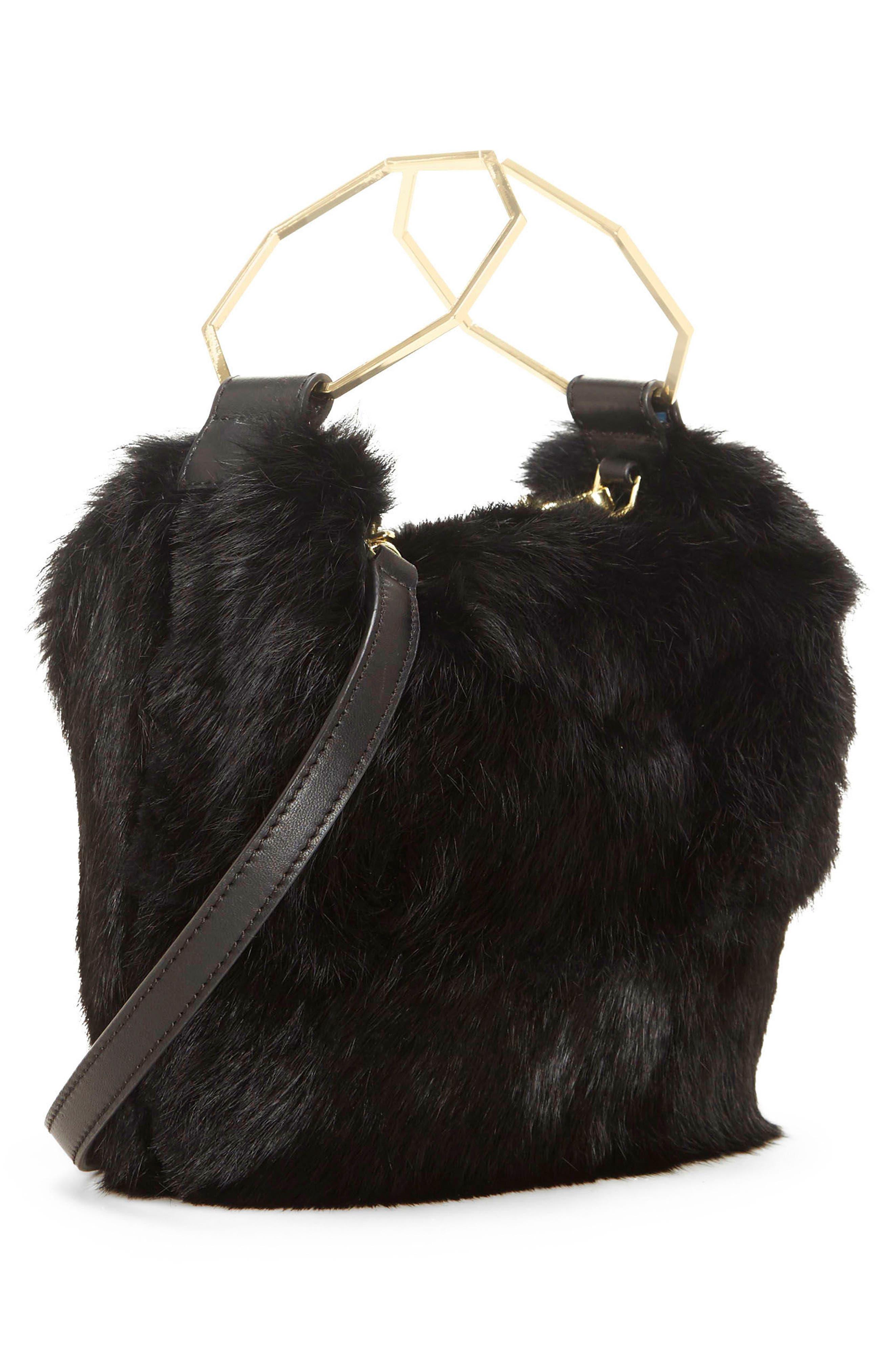 Tysse Genuine Rabbit Fur Bracelet Bag,                             Alternate thumbnail 3, color,                             Black