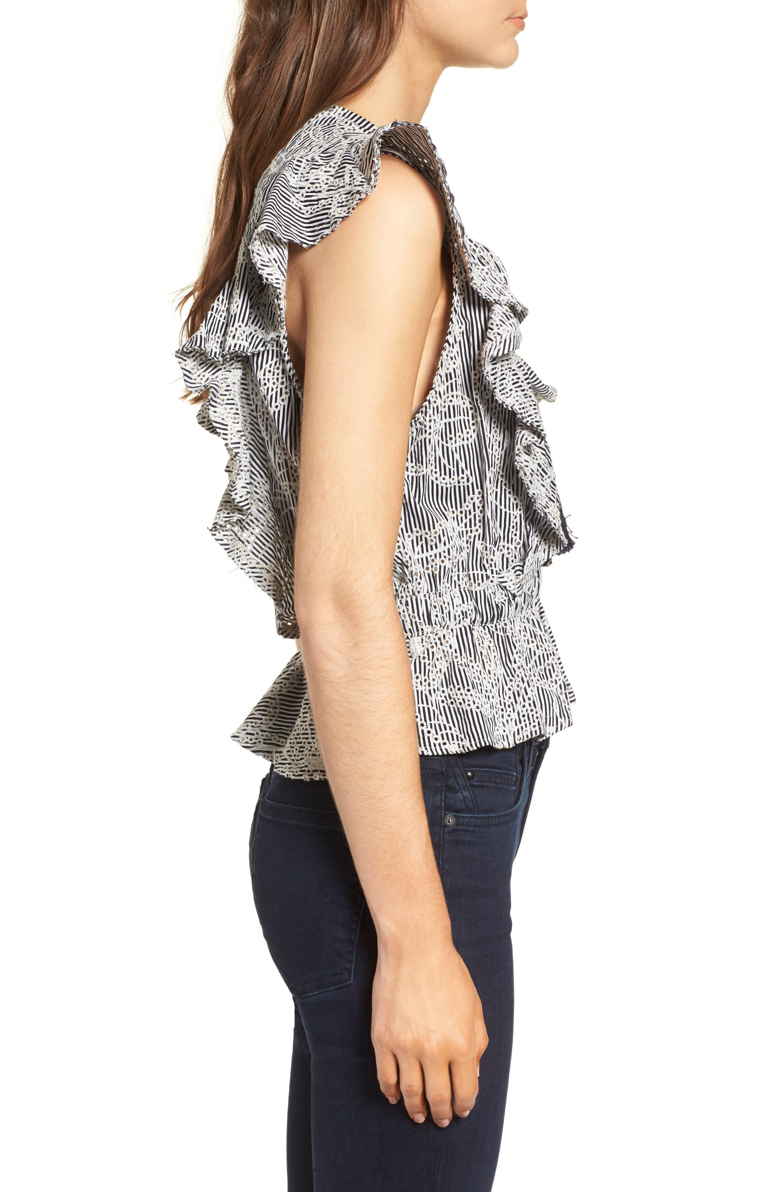 Peplum Top,                             Alternate thumbnail 3, color,                             Embroidered Stripe
