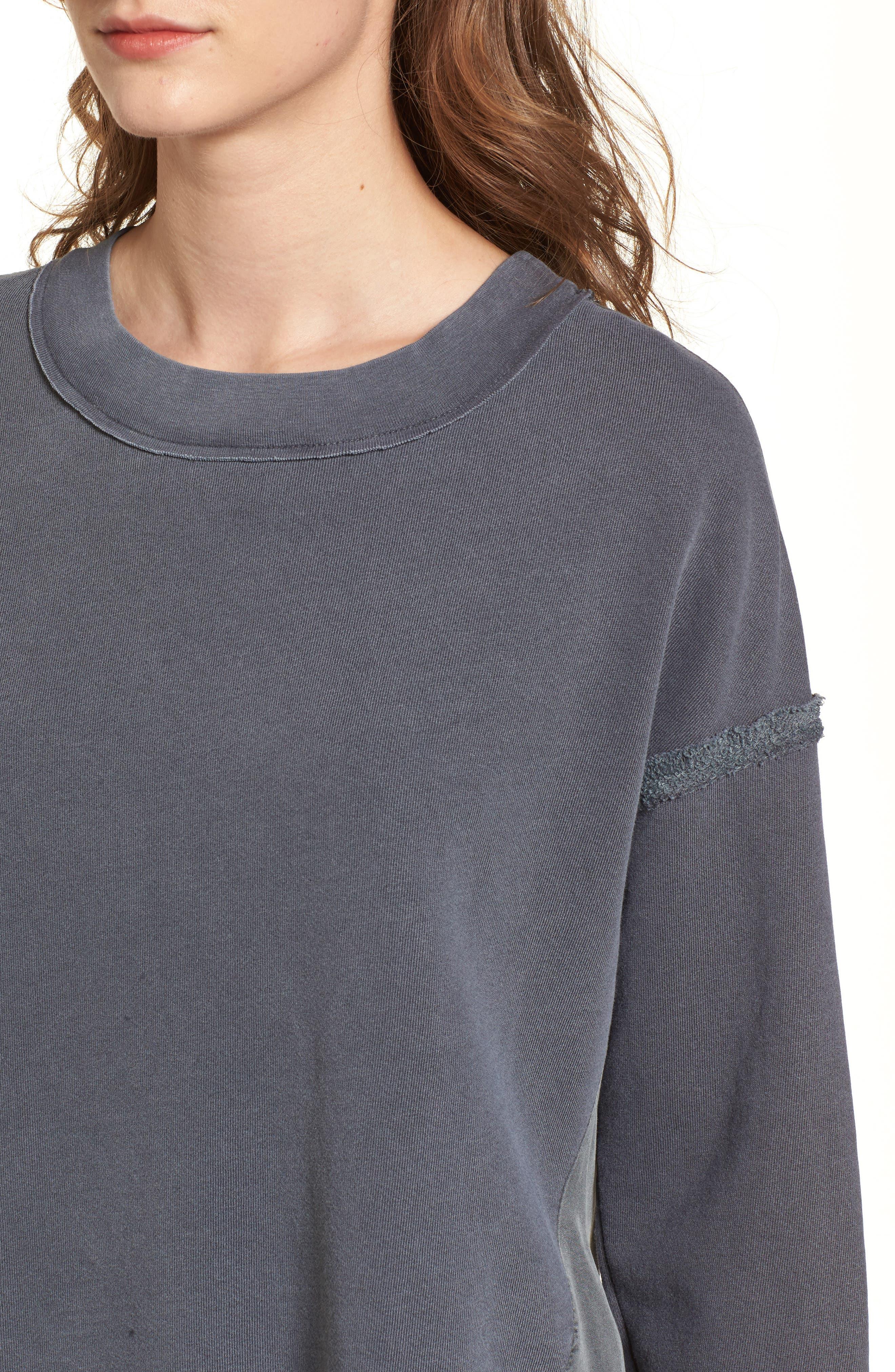 Mixed Media Swing Sweatshirt,                             Alternate thumbnail 4, color,                             Charcoal
