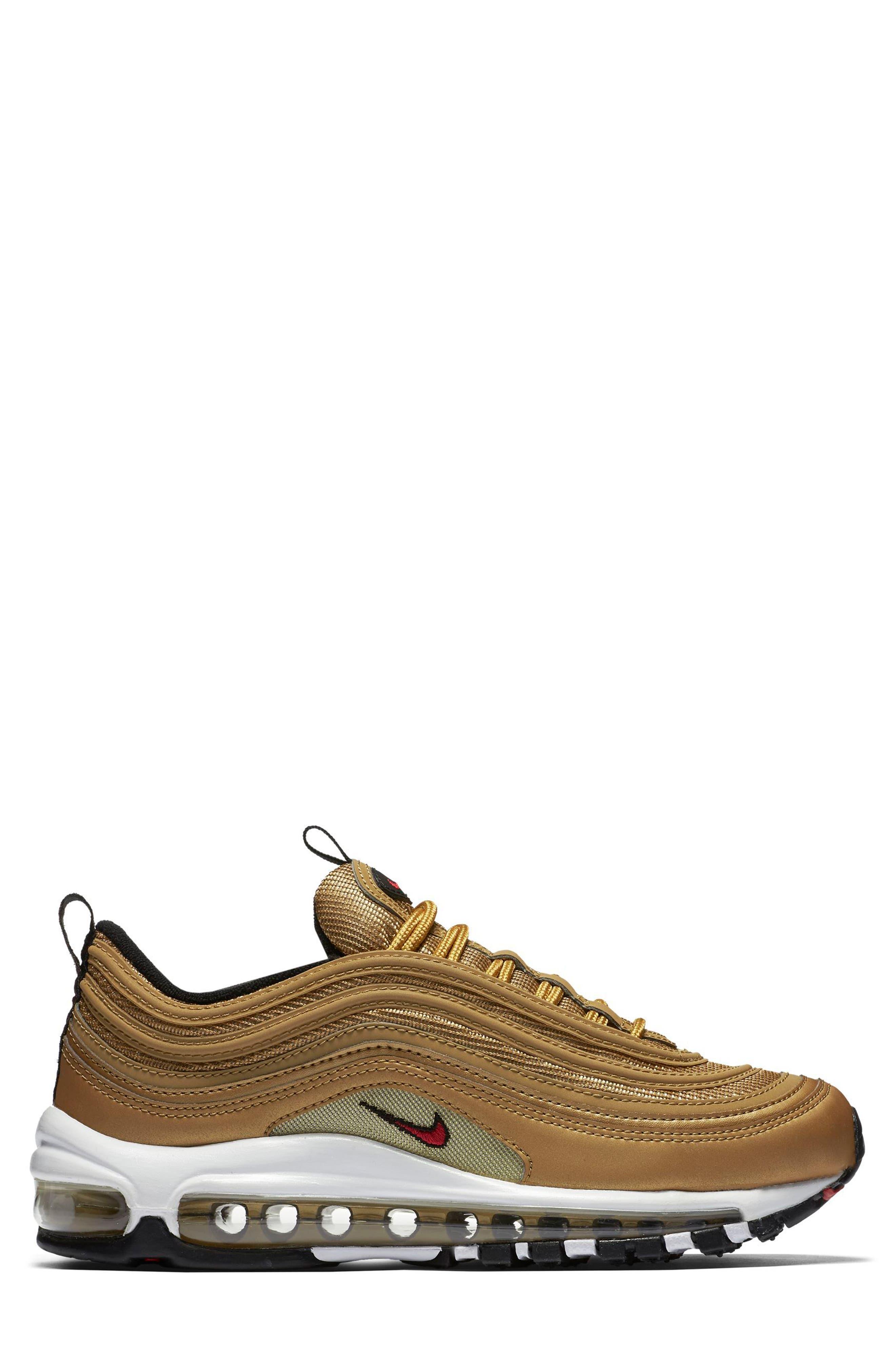 Air Max 97 OG Sneaker,                             Alternate thumbnail 3, color,                             Gold/ Red/ White/ Black