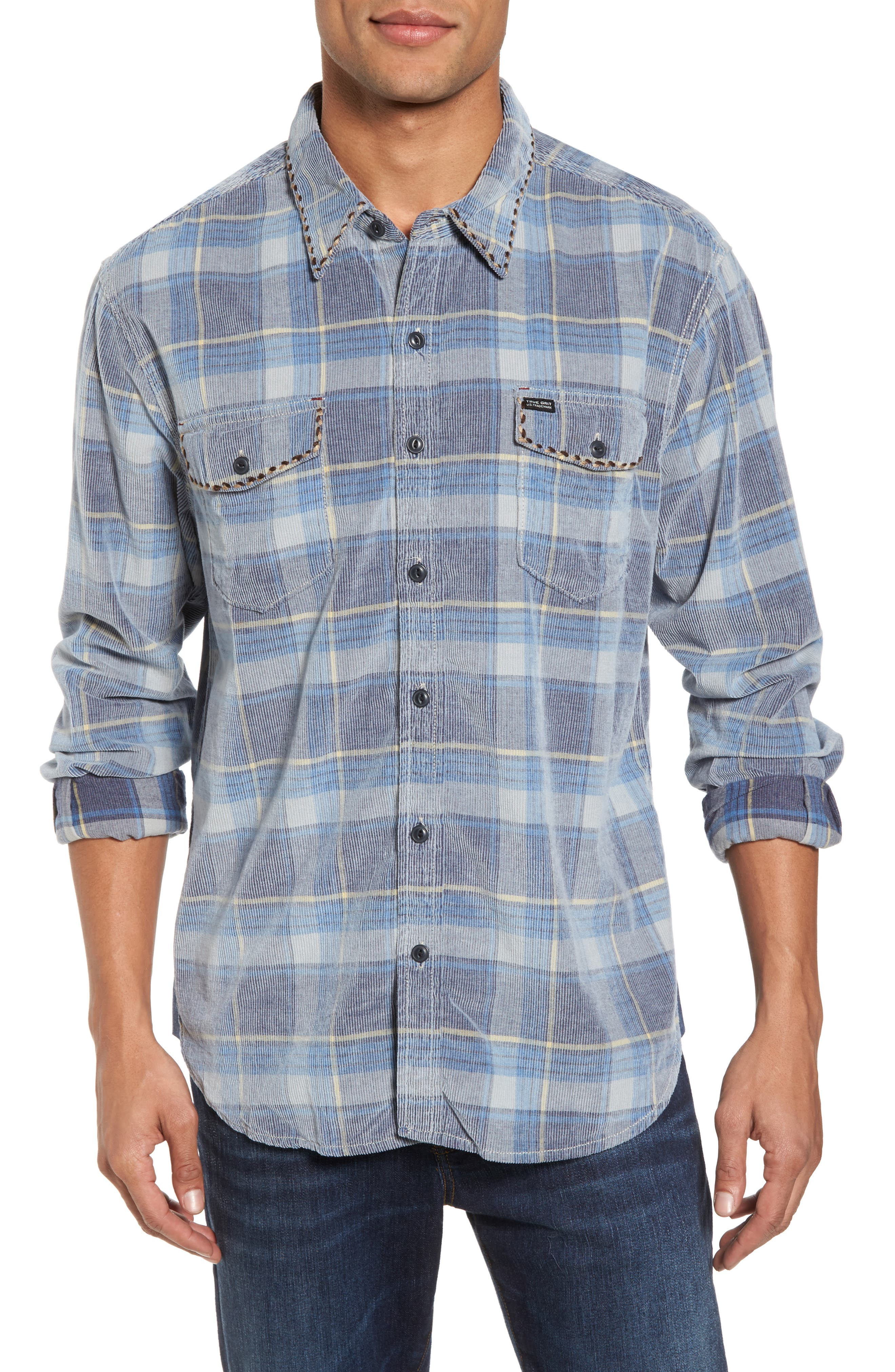 True Grit Regular Fit Plaid Corduroy Shirt