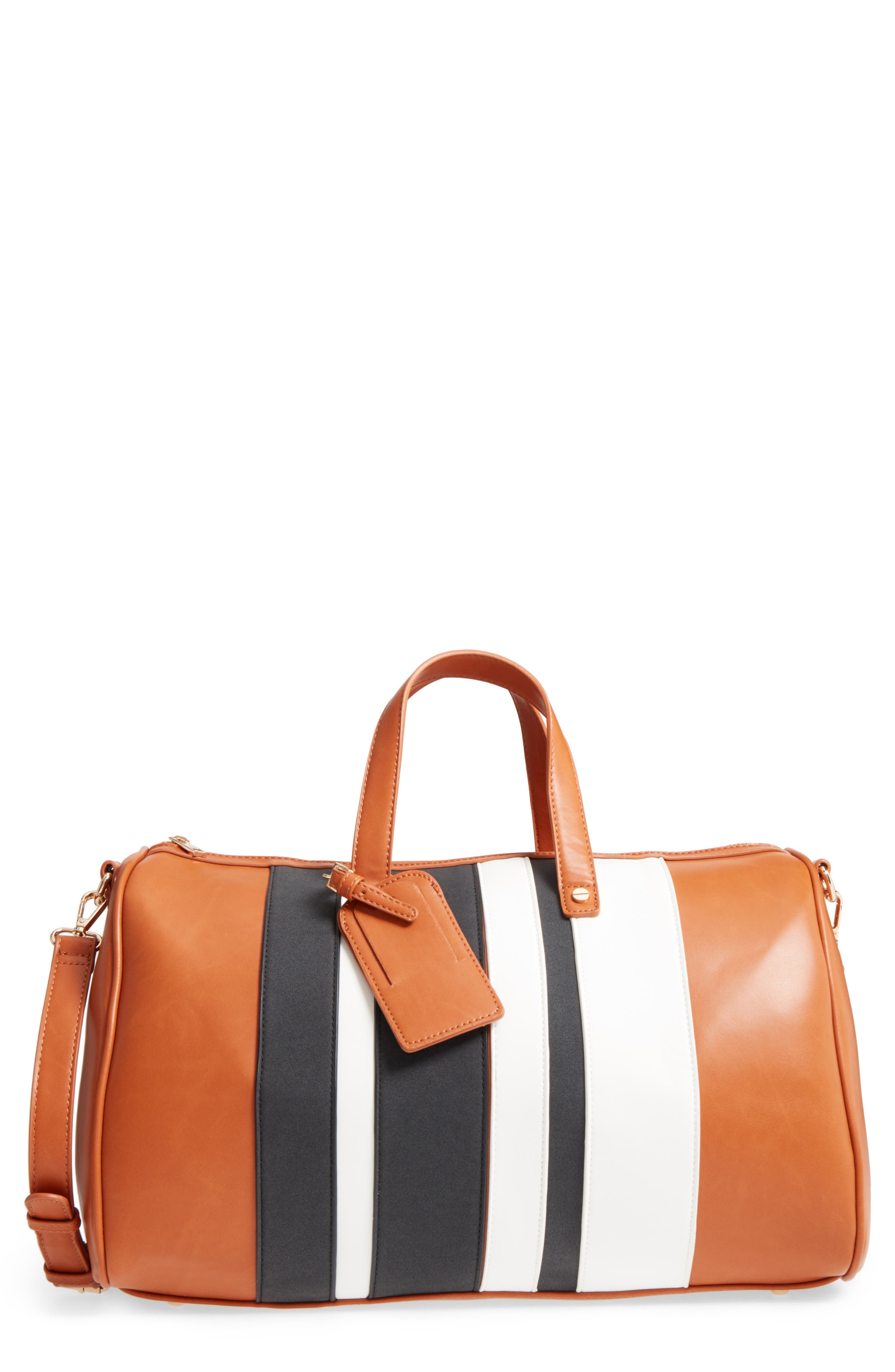 BP. Stripe Faux Leather Duffel Bag