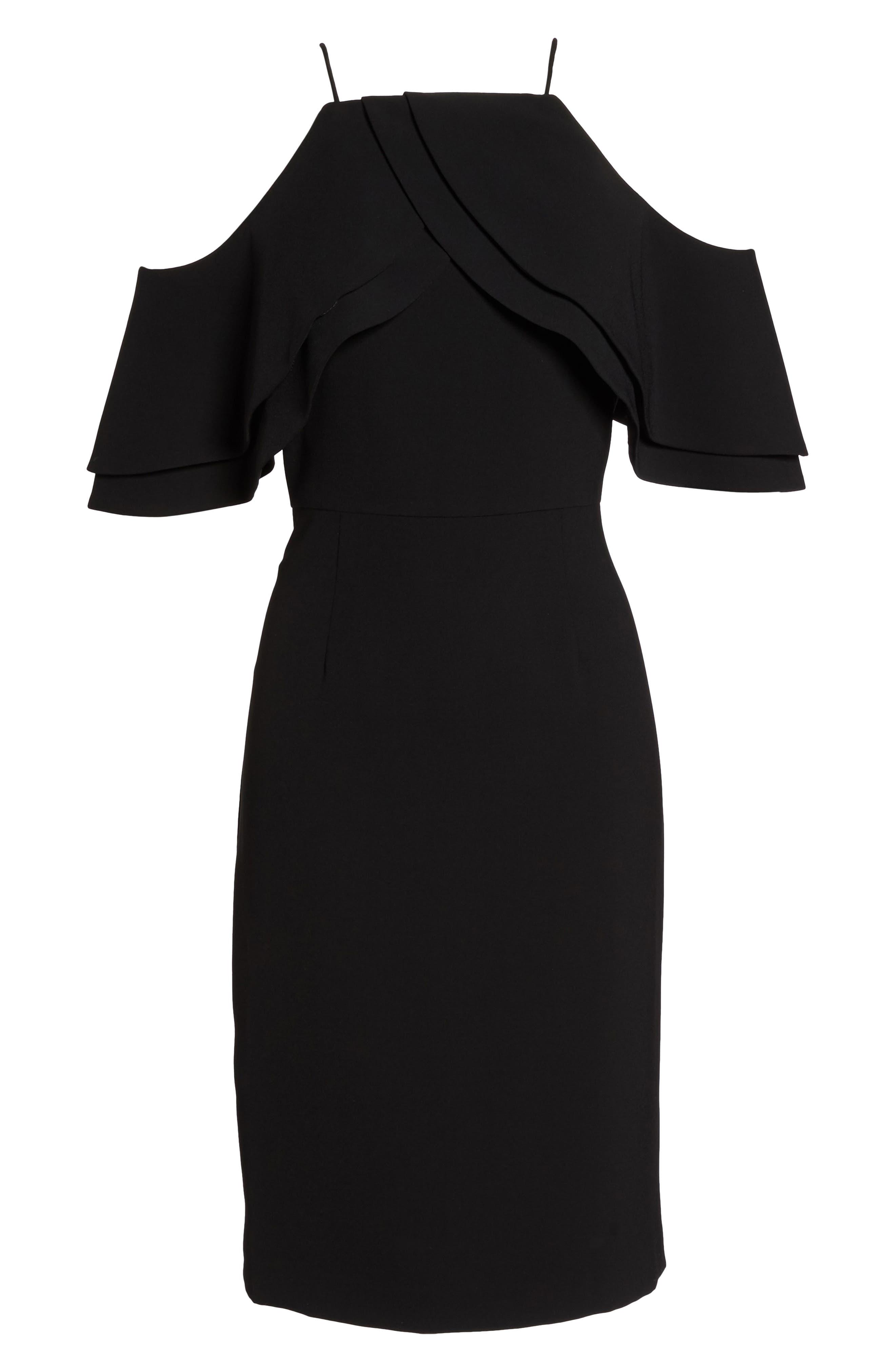 Double Ruffle Cold Shoulder Sheath Dress,                             Alternate thumbnail 6, color,                             Black