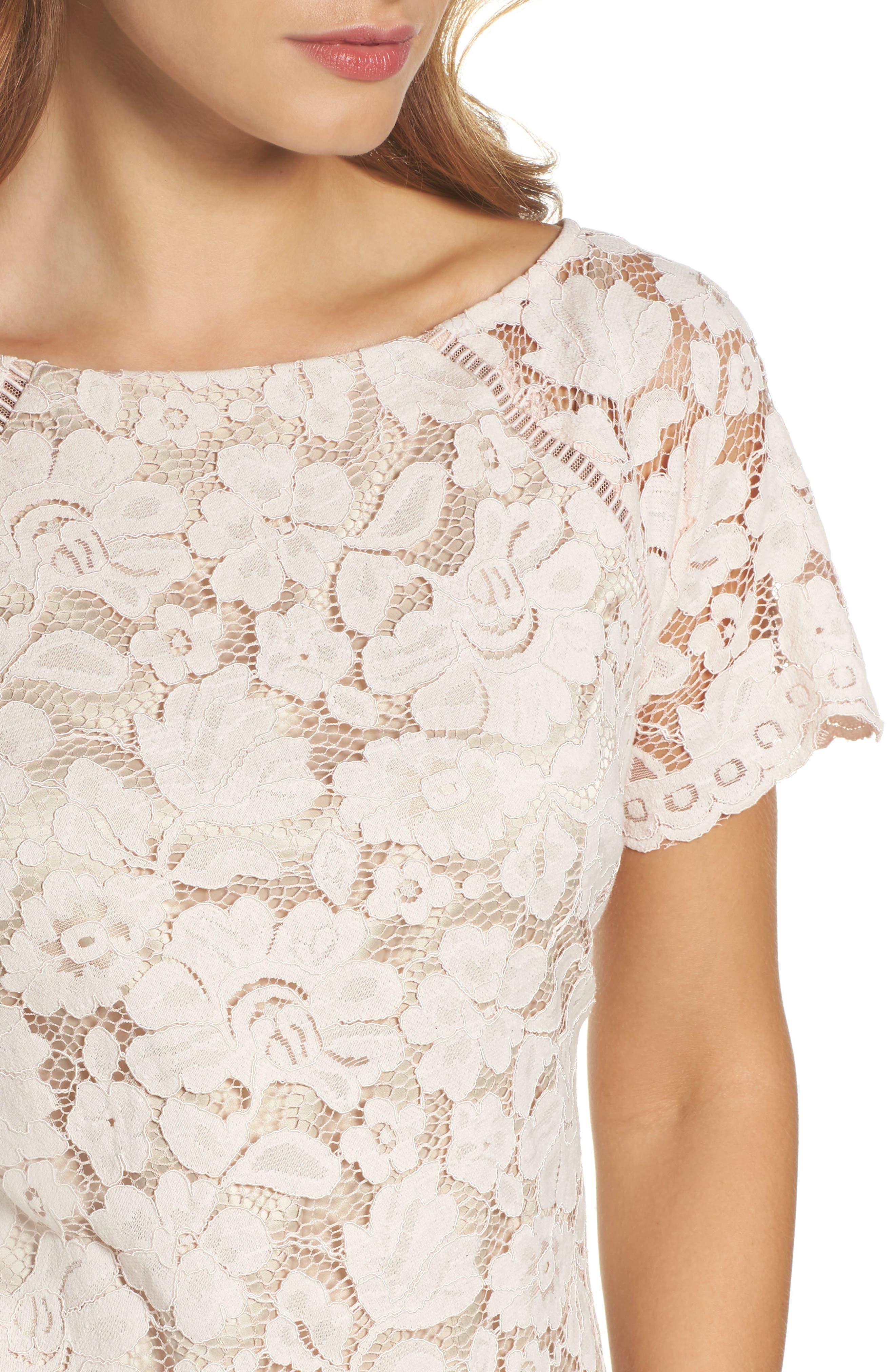 Lace Shift Dress,                             Alternate thumbnail 4, color,                             Blush